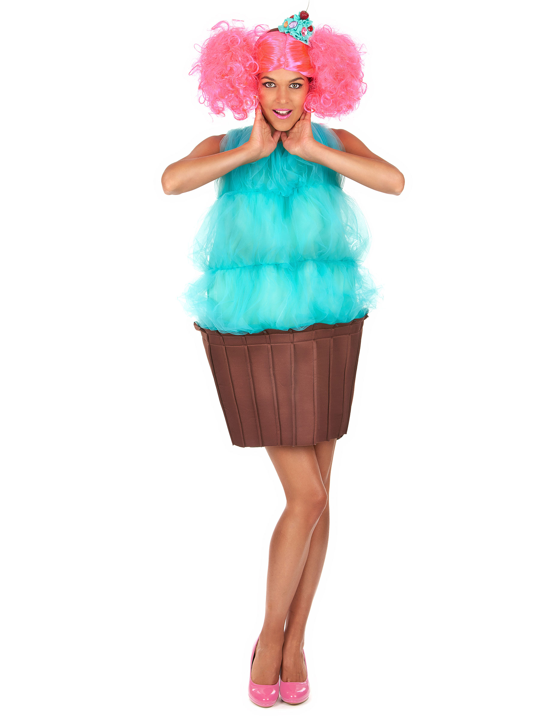 Disfraz cupcake turquesa mujer  Disfraces adultos 24fd883f876