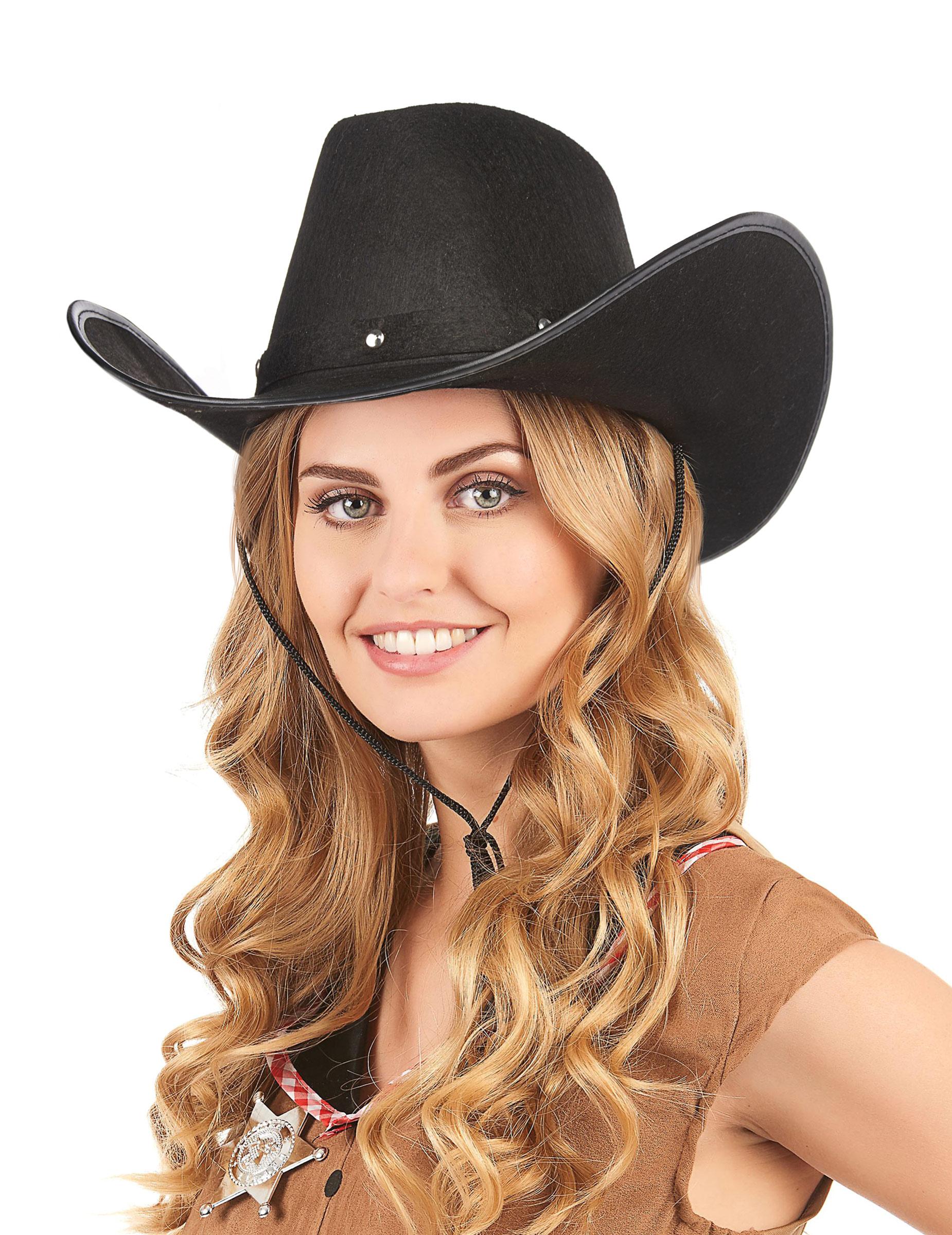 Sombrero vaquero negro para adulto  Sombreros 07615bc6701