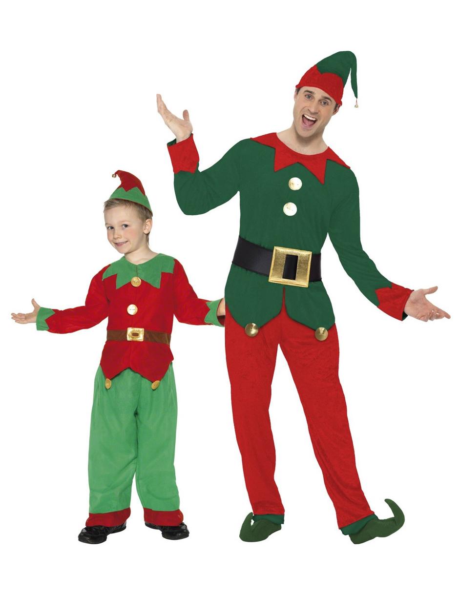 disfraz pareja elfos navidad padre hijo