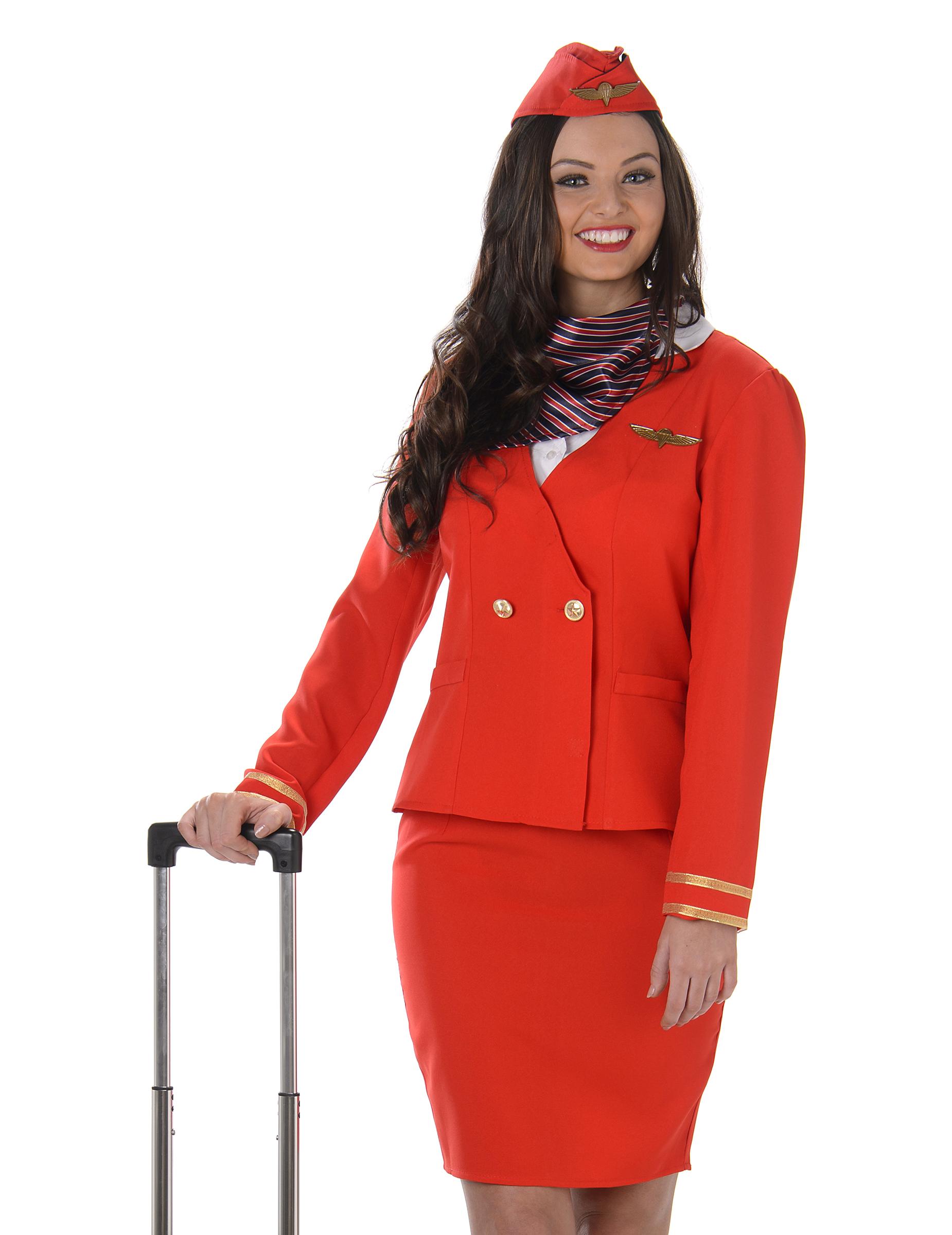 Disfraces Disfraz azafata adultos rojo de vuelo mujer disfraces y d4Xqr4w