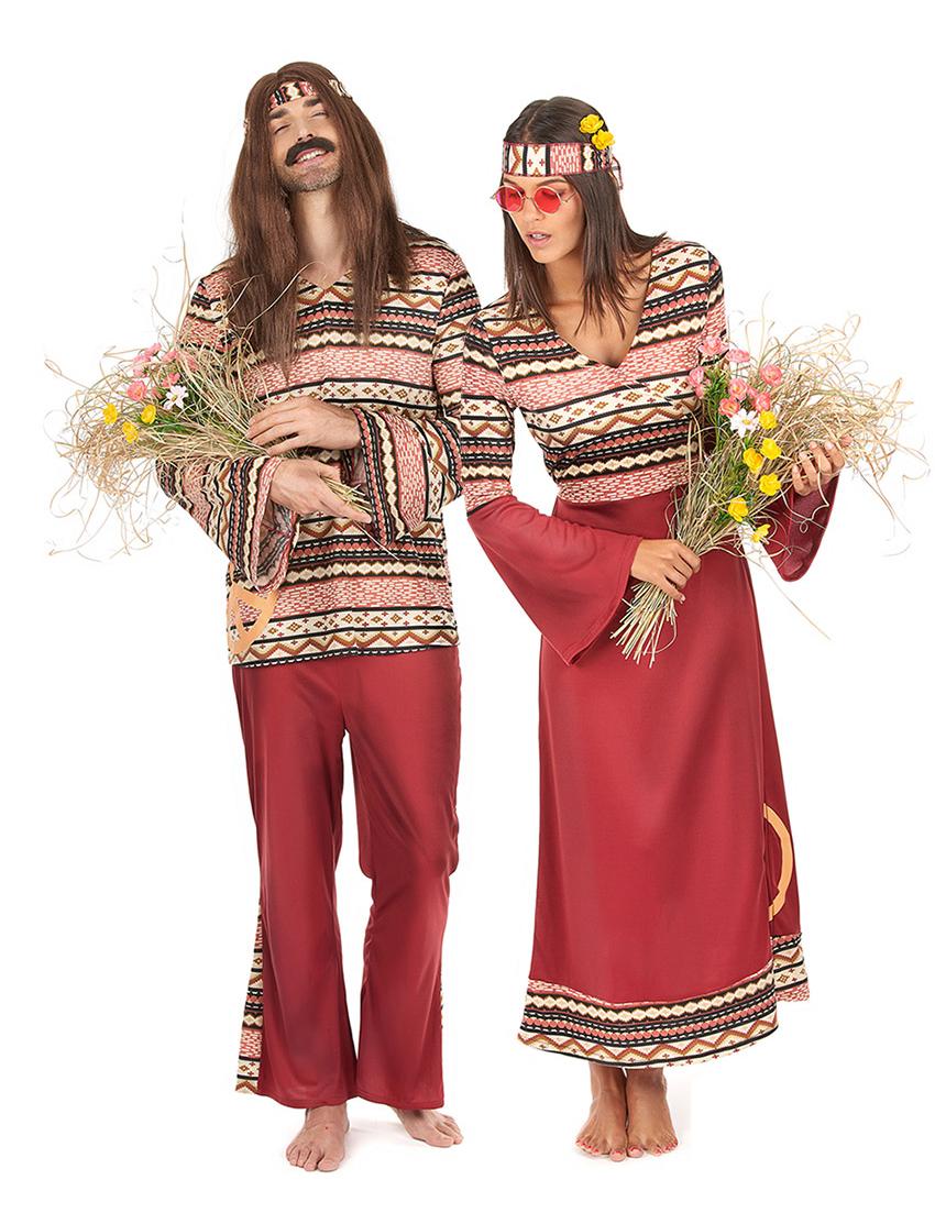 Disfraz de pareja hippie burdeos adulto disfraces parejas for Disfraces parejas adultos