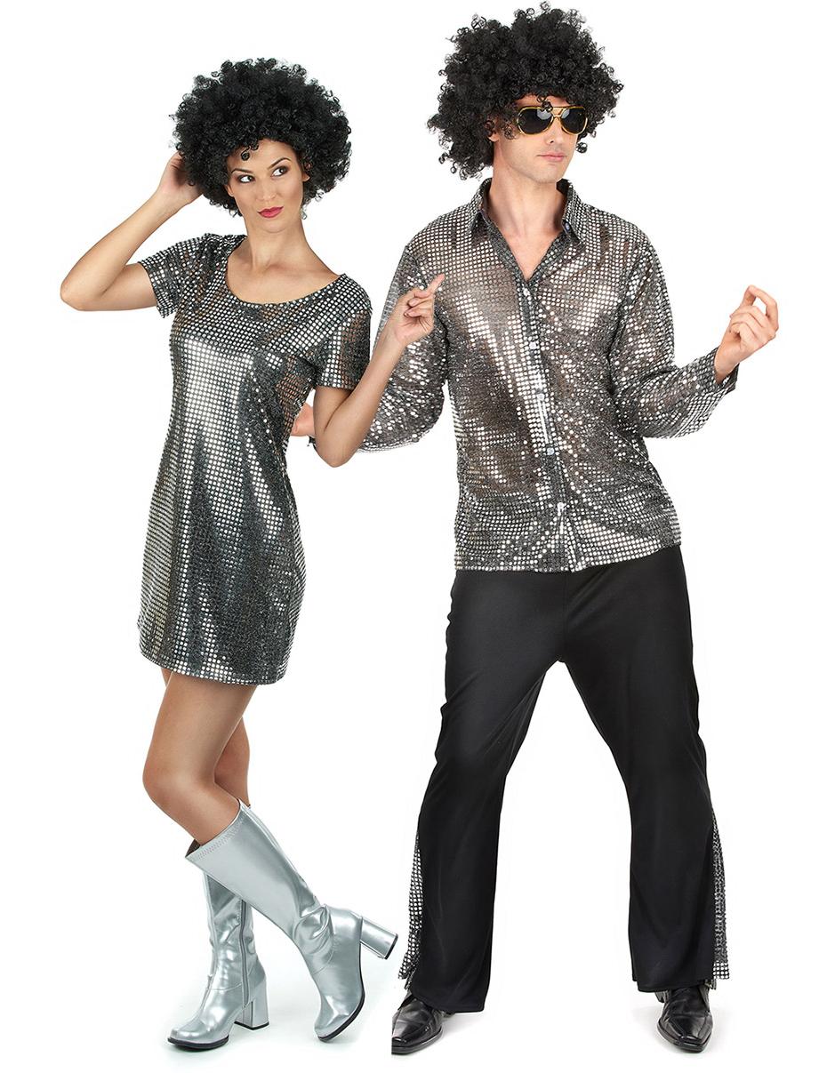 Disfraz de pareja disco plateado adultos disfraces for Disfraces parejas adultos