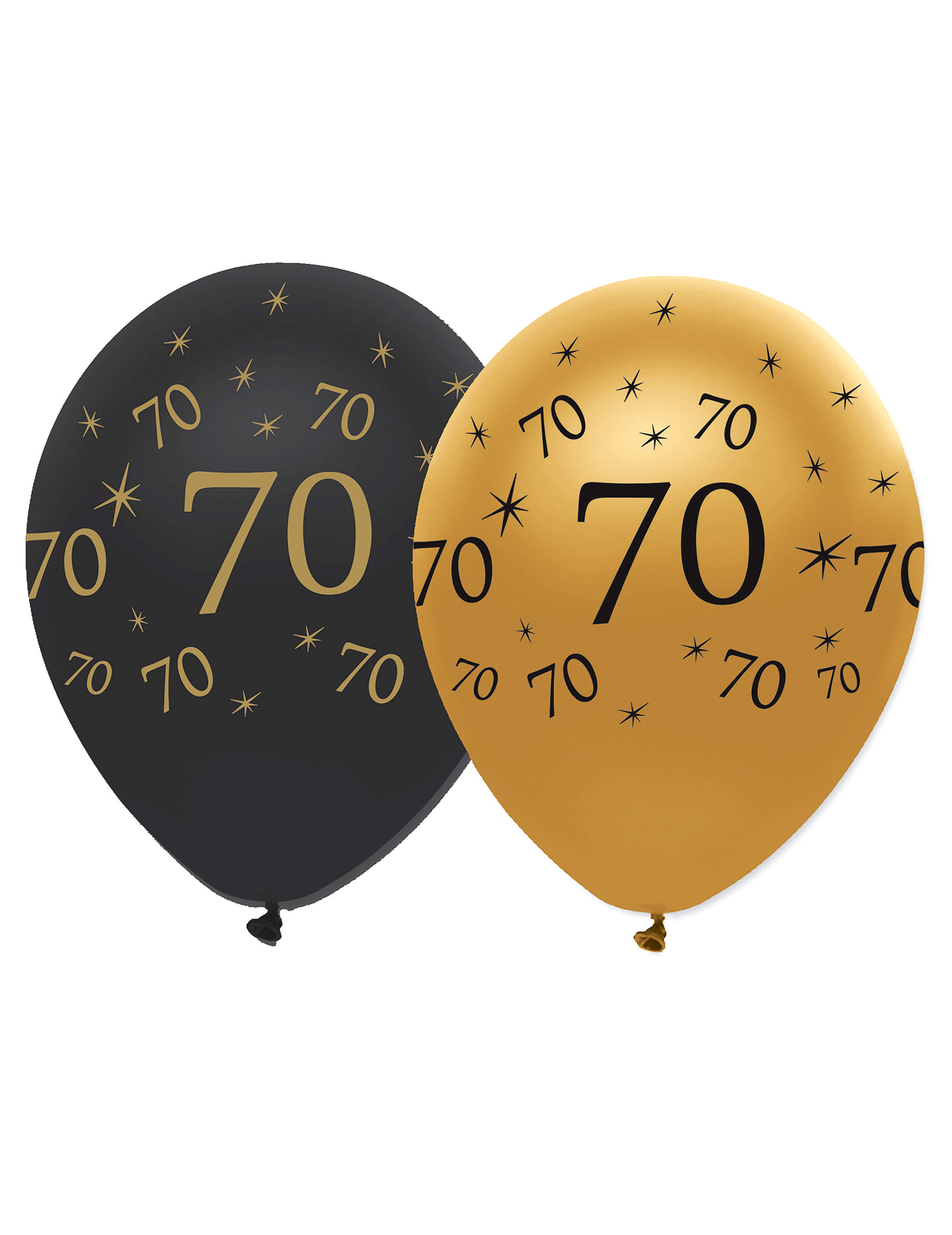 6 globos negros y dorado l tex 70 a os decoraci n y for Decoracion con globos 50 anos