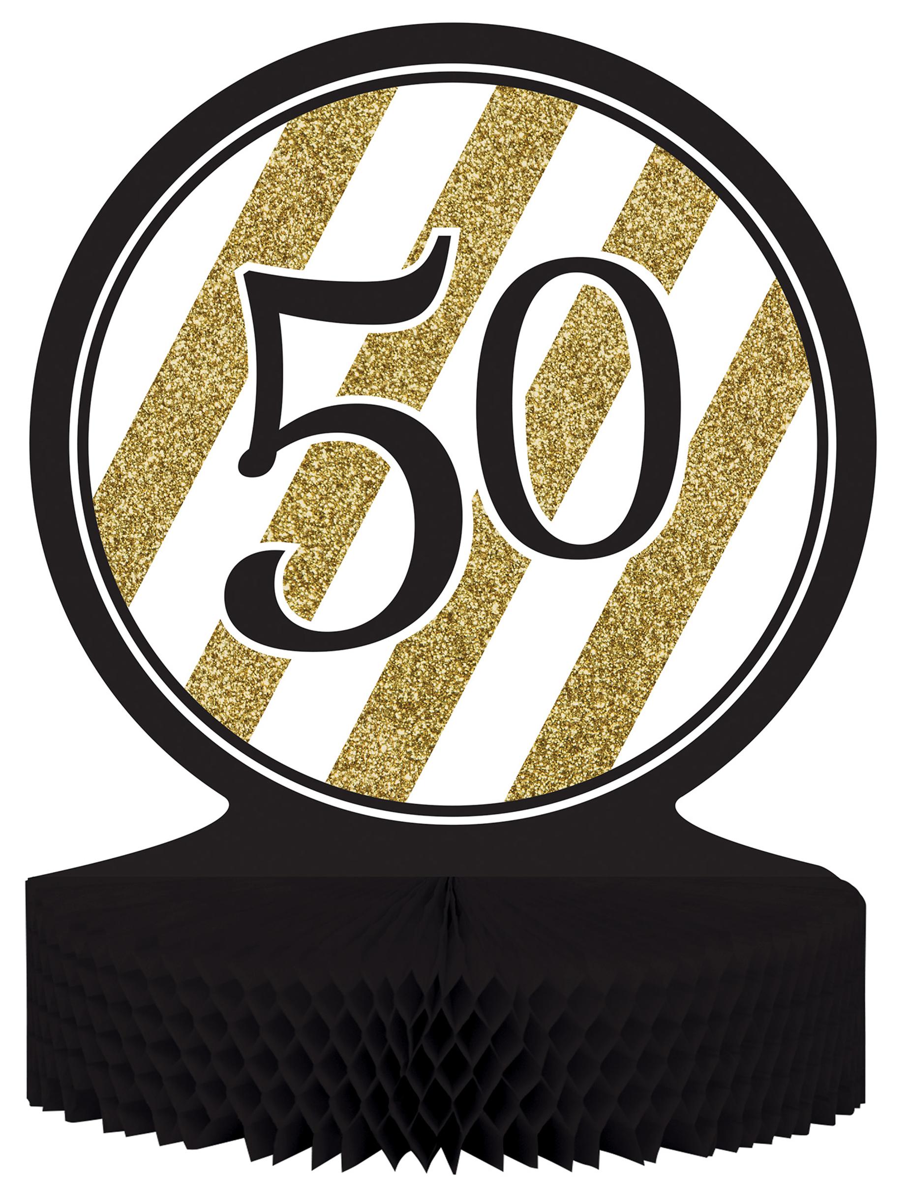 Centro de mesa 50 a os dorado y negro decoraci n y for Decoracion de pared para 50 anos
