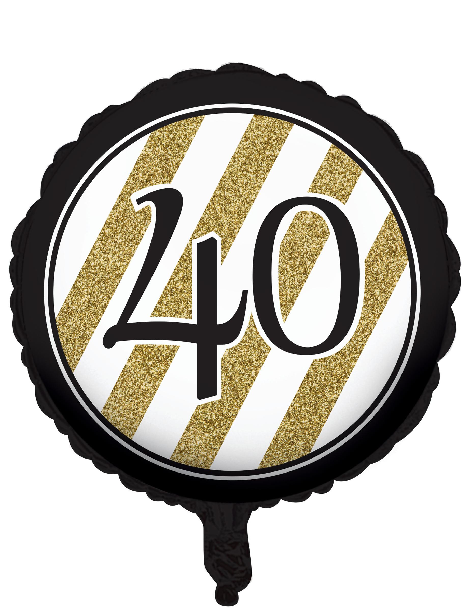 Globo aluminio 40 a os negro y dorado 46 cm decoraci n y for Decoracion 40