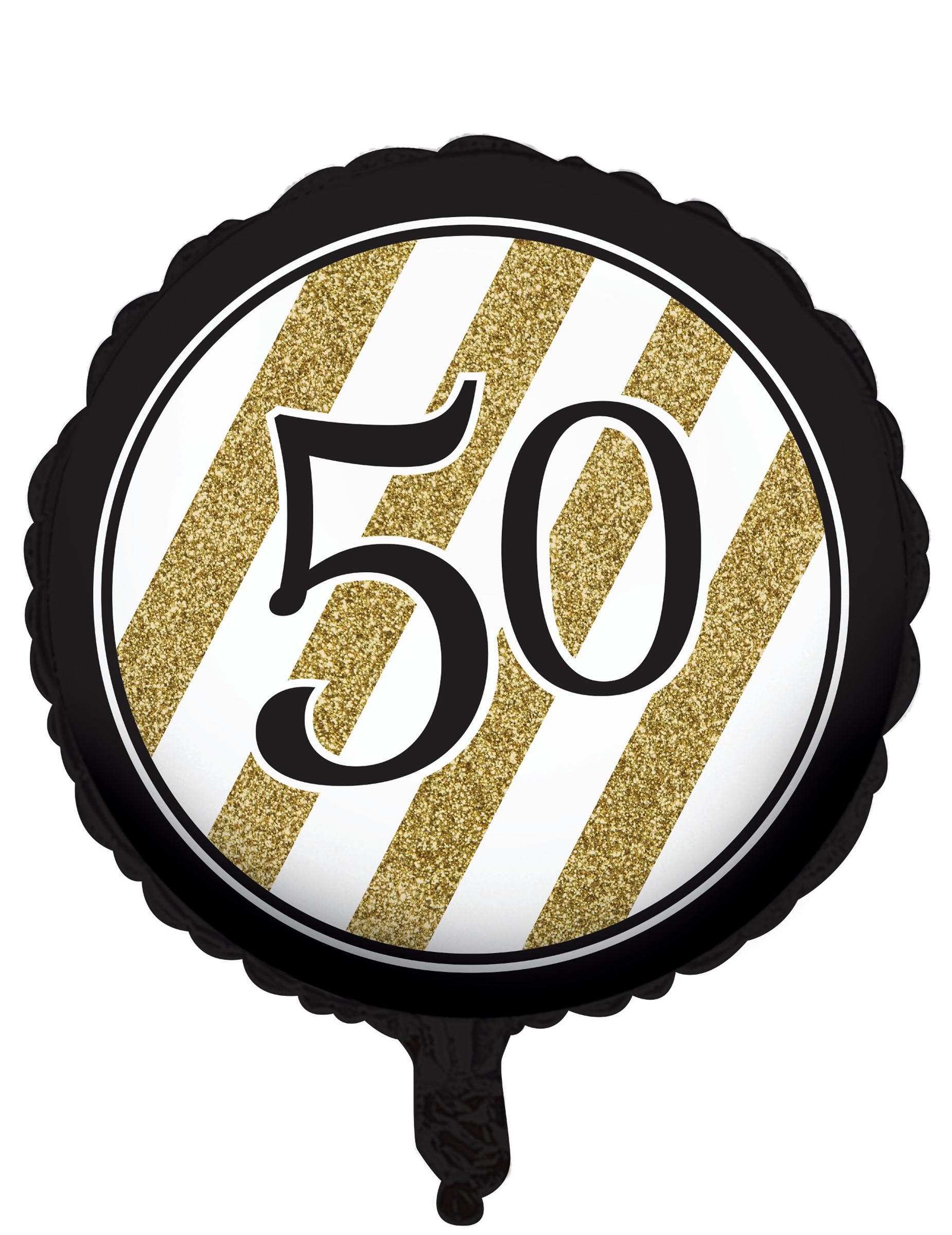 Globo de aluminio negro y dorado 50 a os 46 cm decoraci n for Decoracion cumpleanos 50 anos