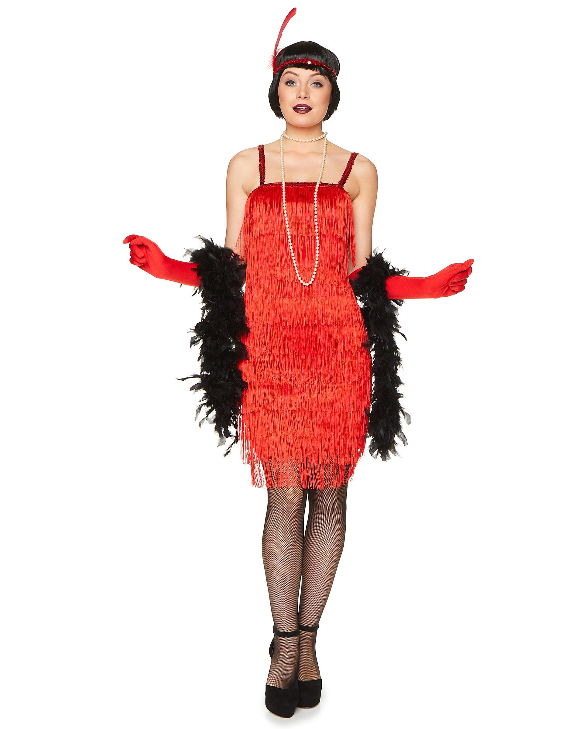 Disfraz de charlestón rojo mujer: Disfraces adultos,y