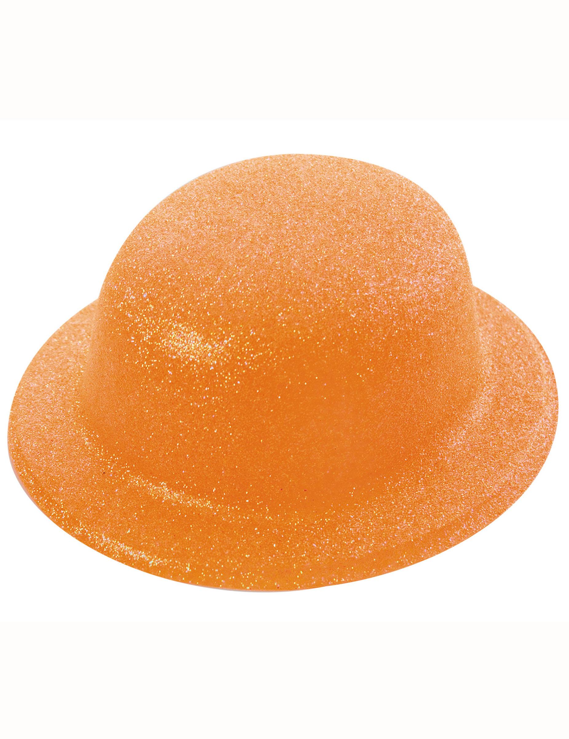Sombrero bombín brillante naranja adulto  Sombreros 71709037732