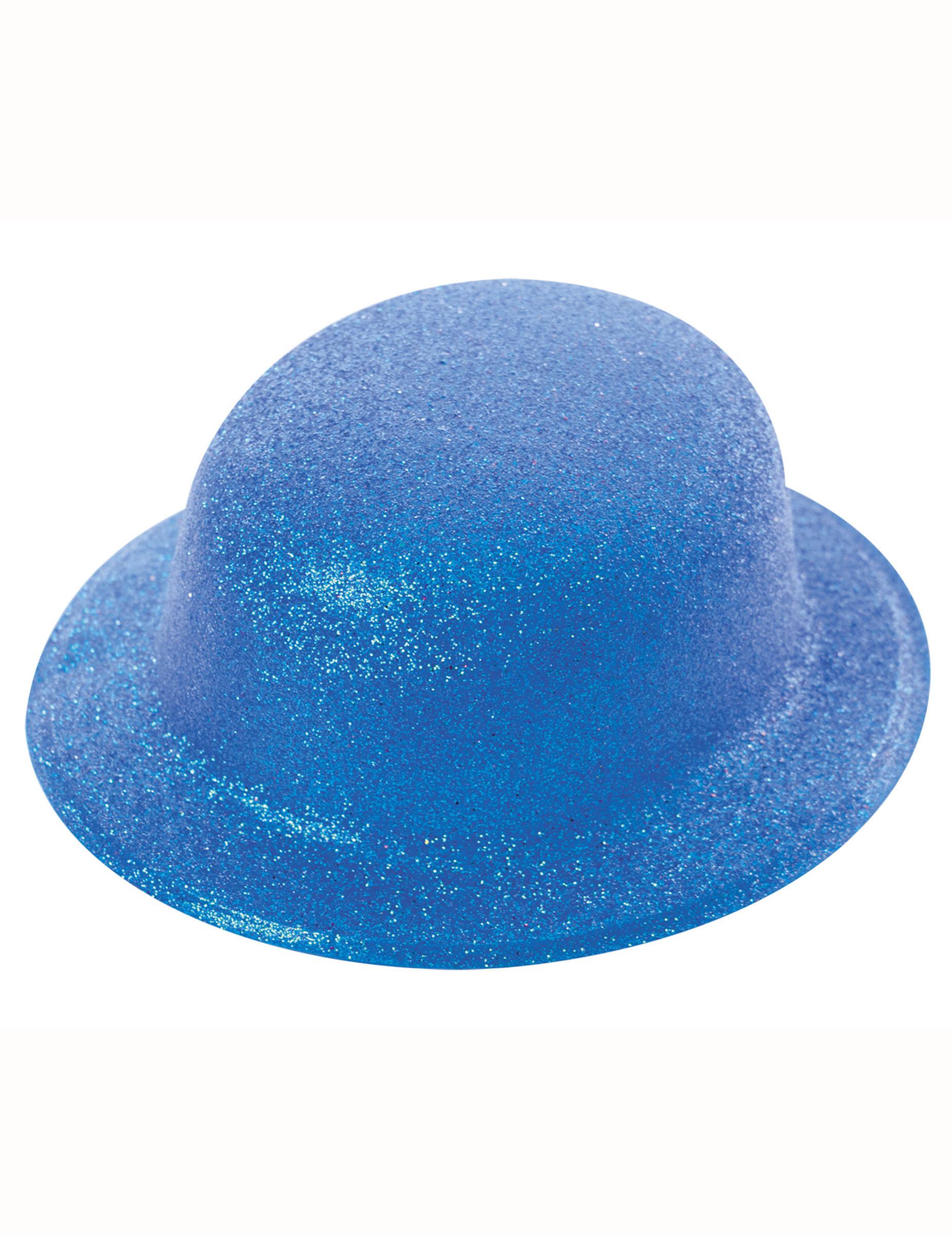Sombrero bombín brillante azul adulto  Sombreros 14b1756dfc8e
