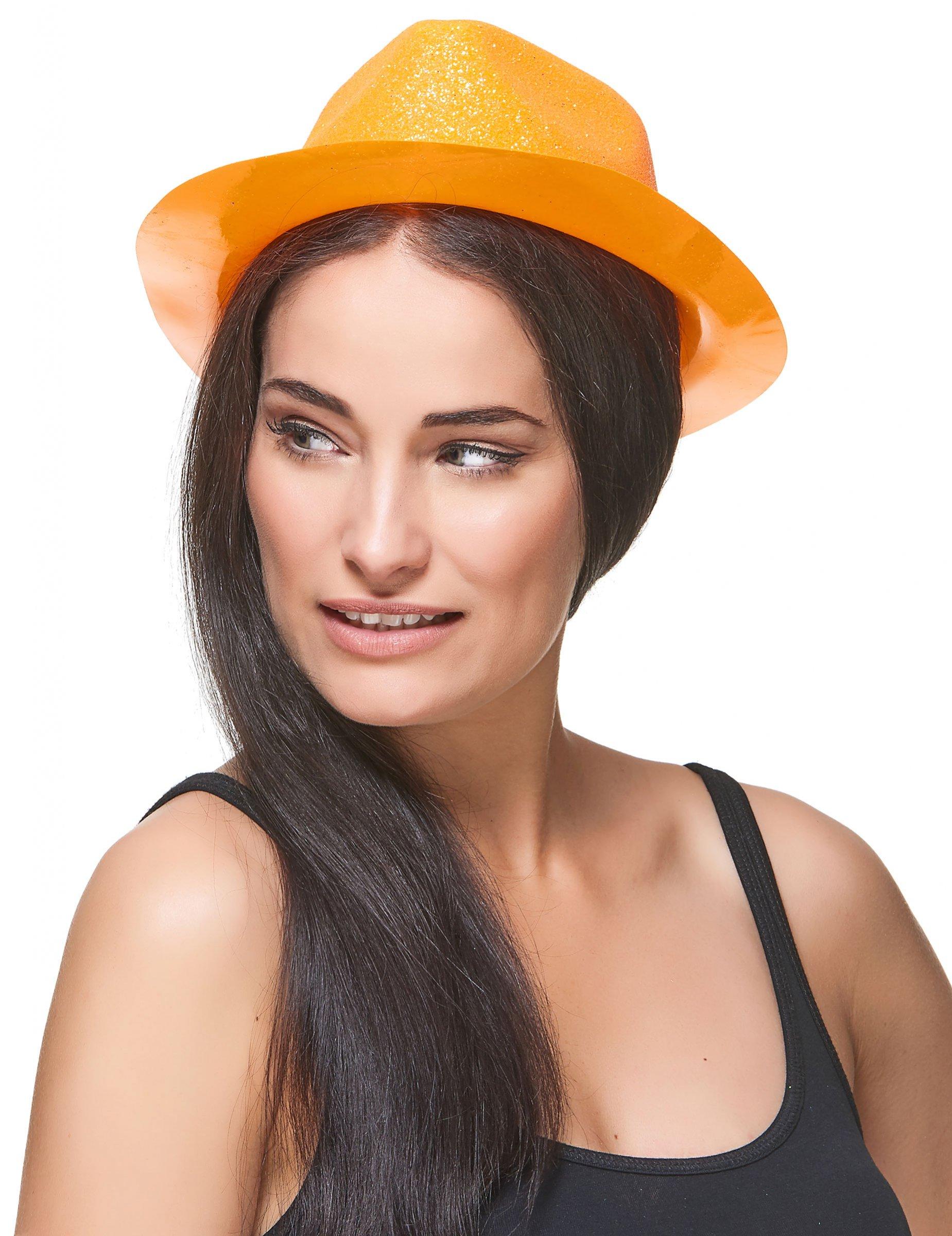 Sombrero purpurina naranja adulto  Sombreros 270b84c0538