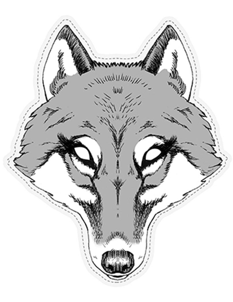 4f148c90721 Máscara lobo de papel  Máscaras