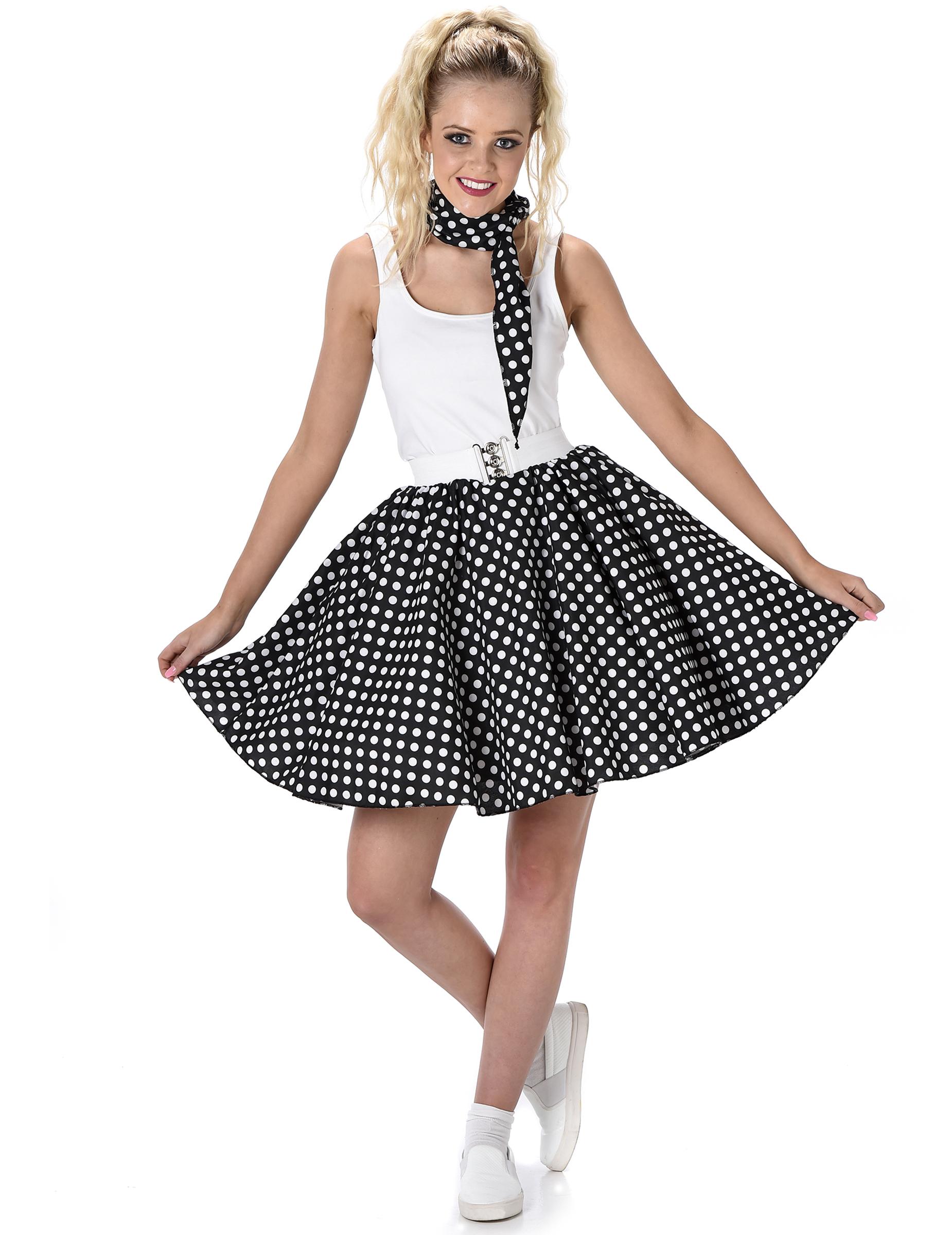 Disfraz de los años 50 negro con puntos mujer  Disfraces adultos 1fb971119e6