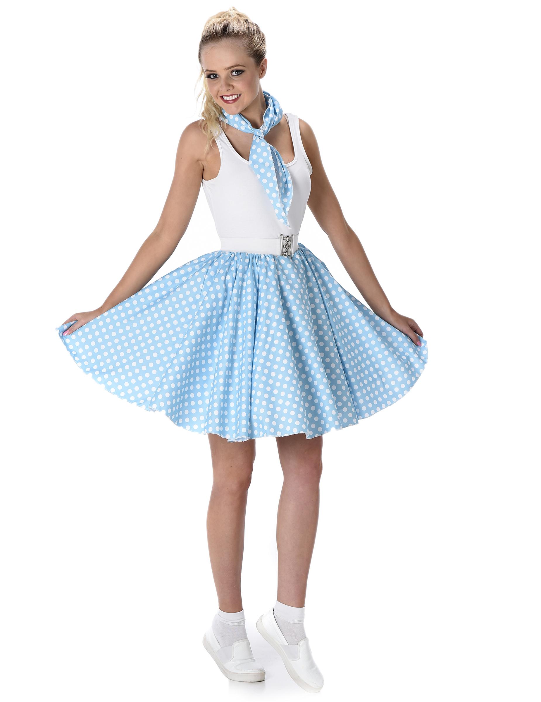 Disfraz a os 50 azul claro mujer disfraces adultos y for Disfraces de los anos 60