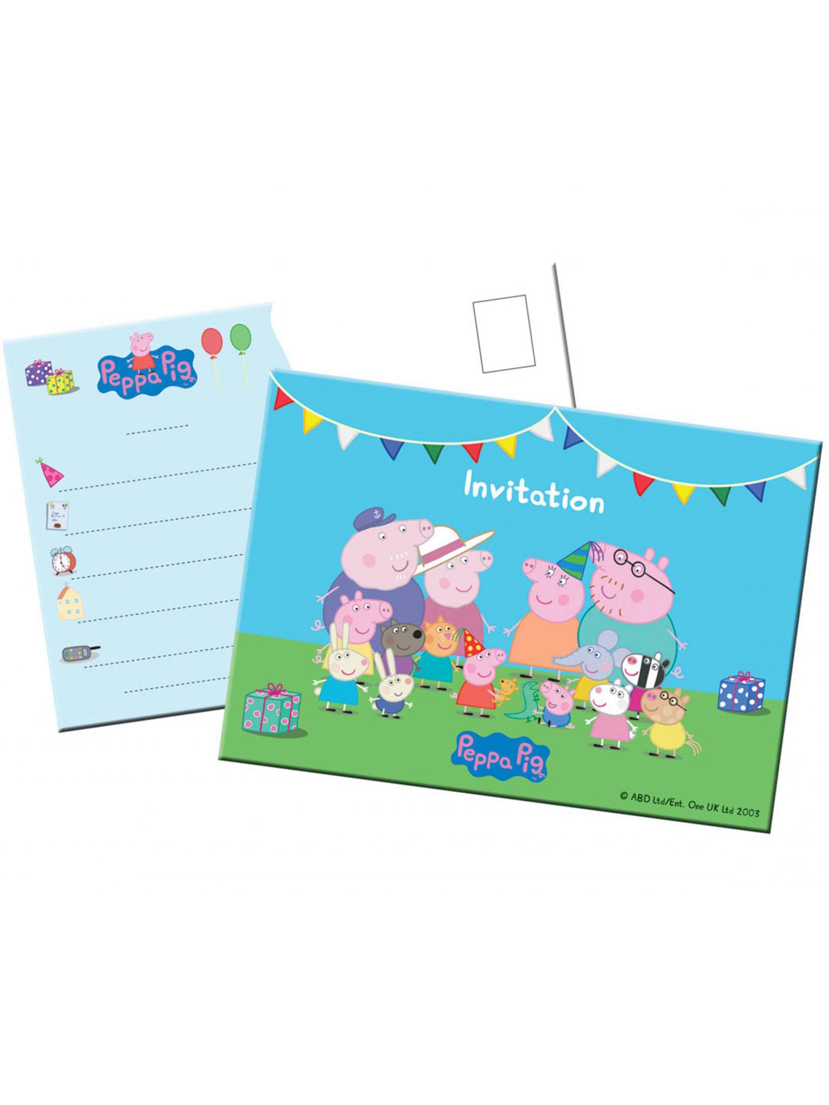 8 Tarjetas De Invitación Peppa Pig Decoración Y Disfraces
