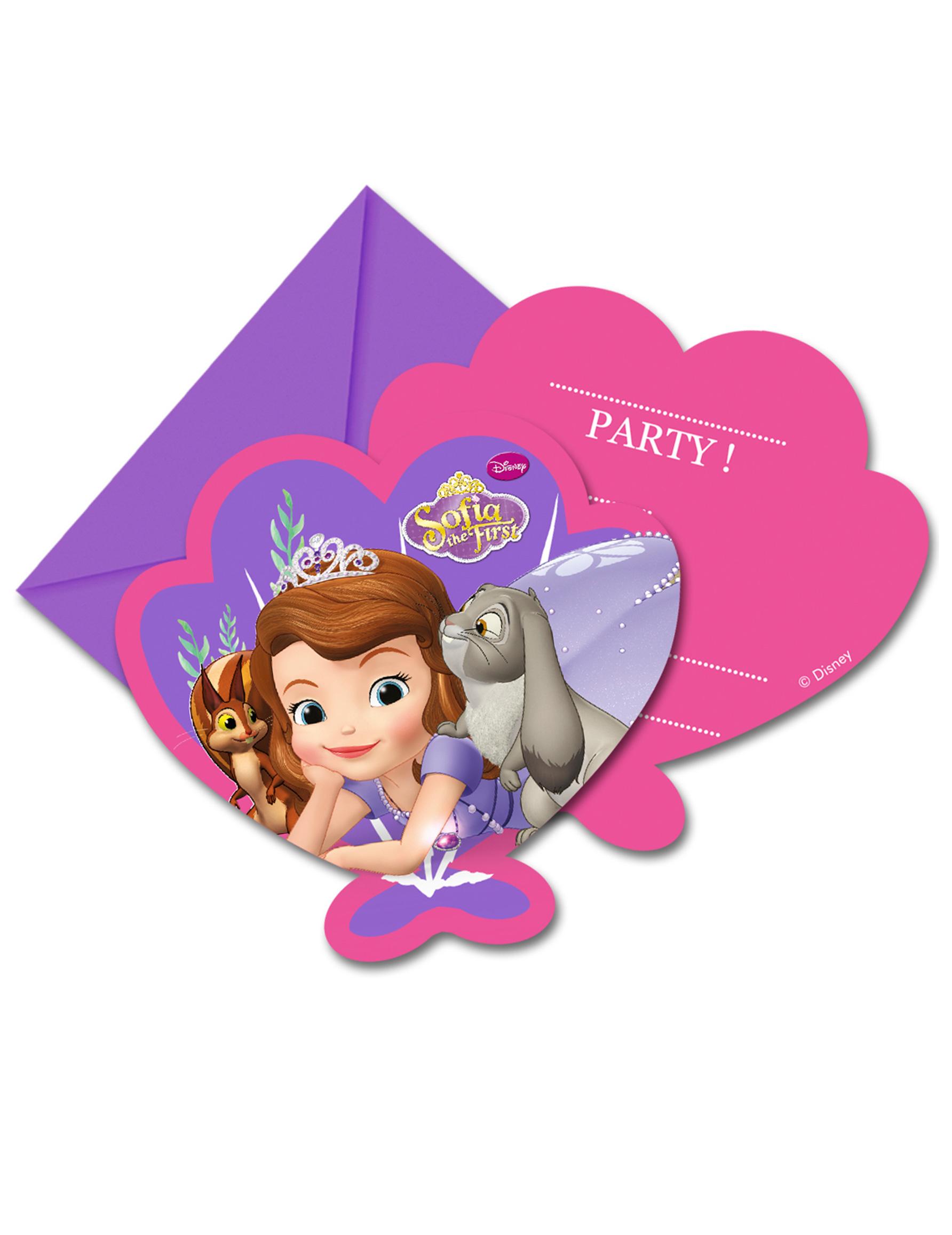 6 Tarjetas de invitación con sobres Princesa Sofía™: Decoración,y ...
