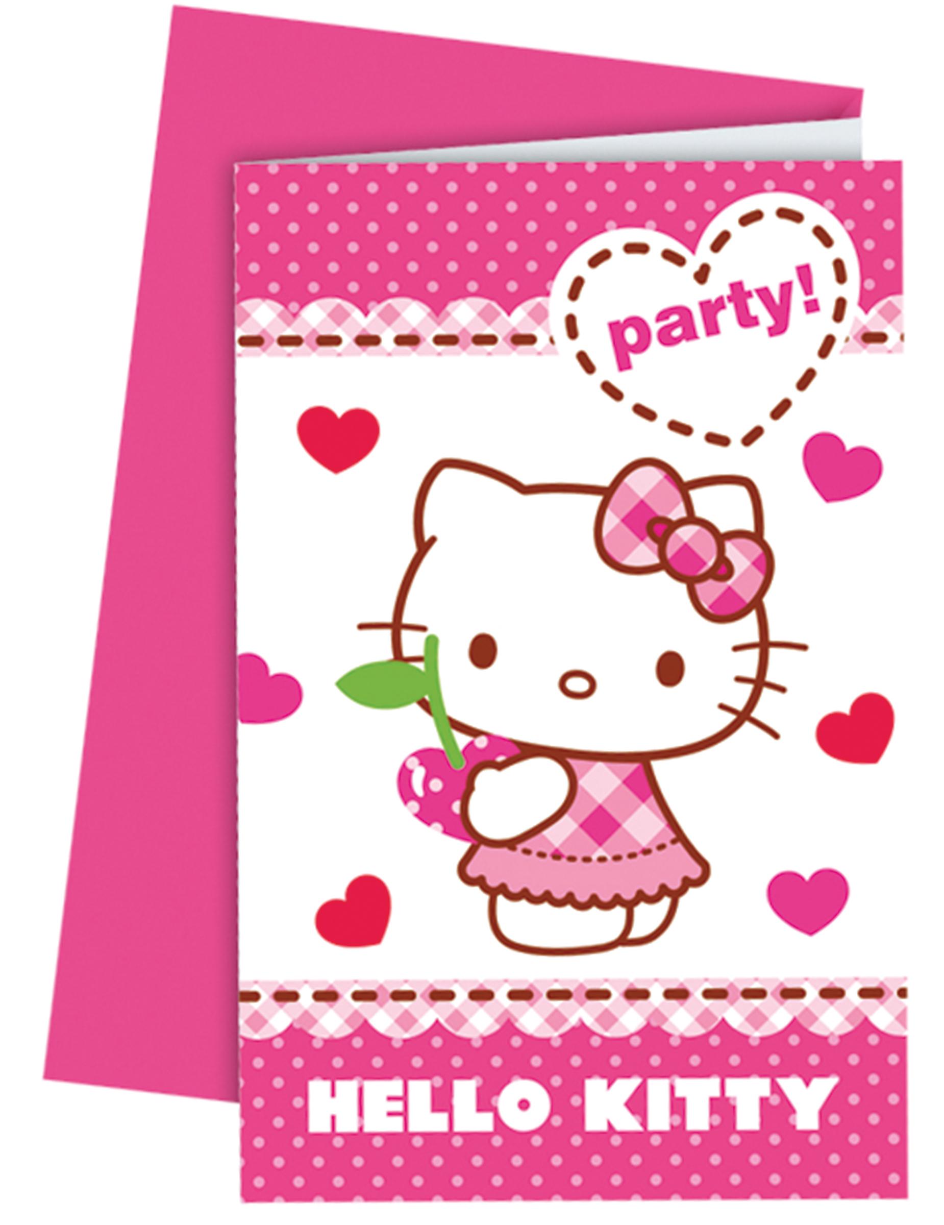 6 Tarjetas de invitación con sobres Hello Kitty™: Decoración,y ...