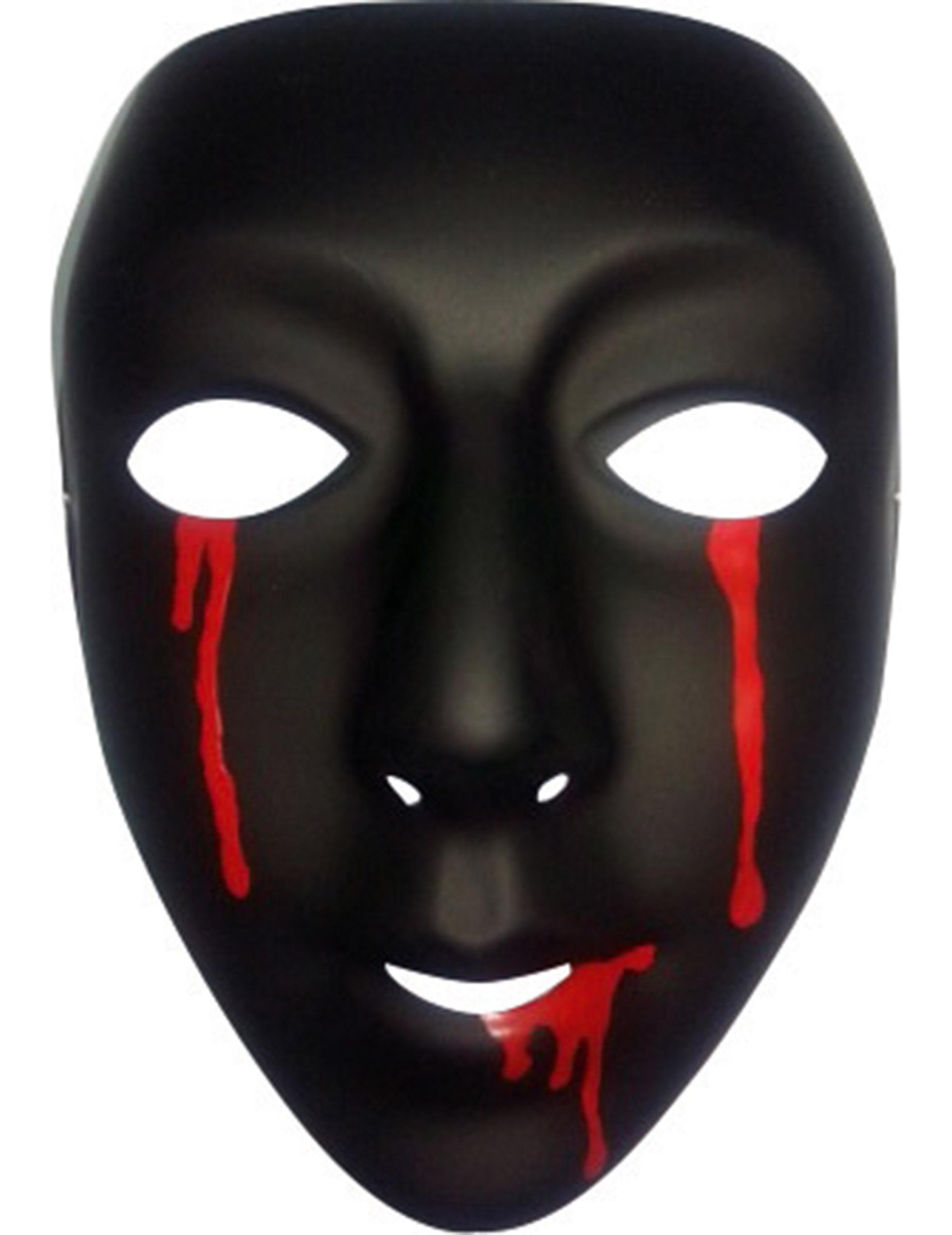 Mscara negra con lgrimas de sangre mujer Halloween Mscarasy