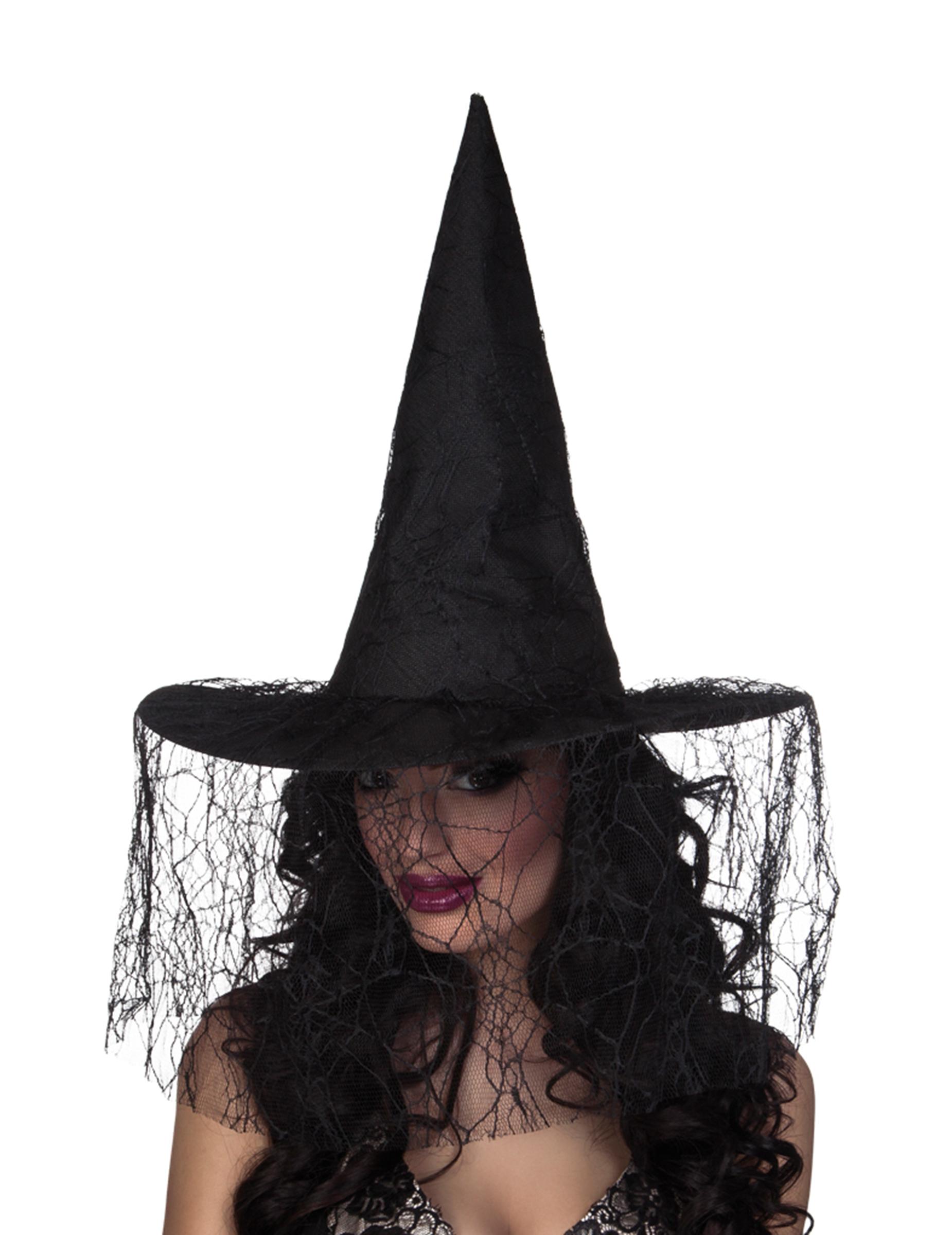 Sombrero de bruja negro con velo araña mujer Halloween  Sombreros 5aadbbb05a6