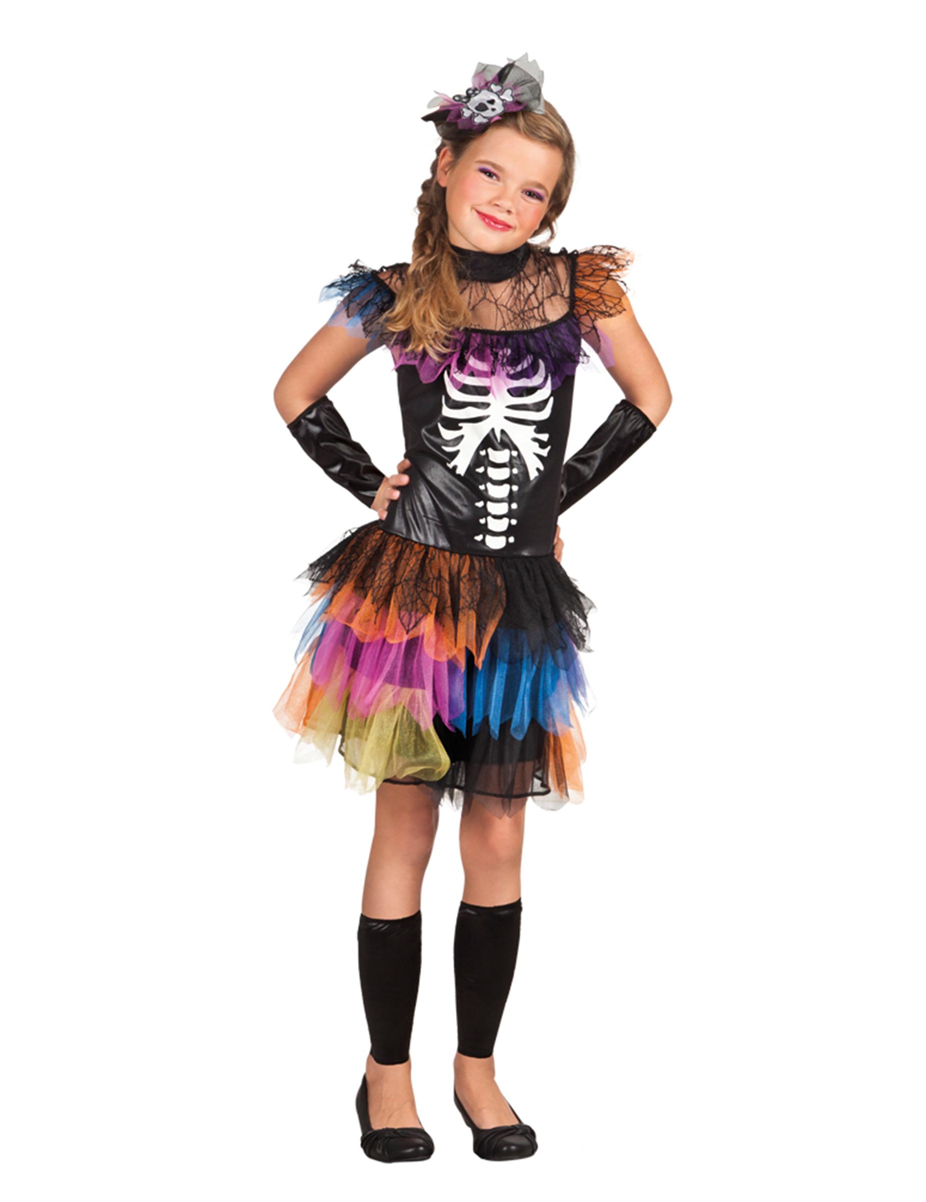 Disfraz de esqueleto tutú colores niña Halloween