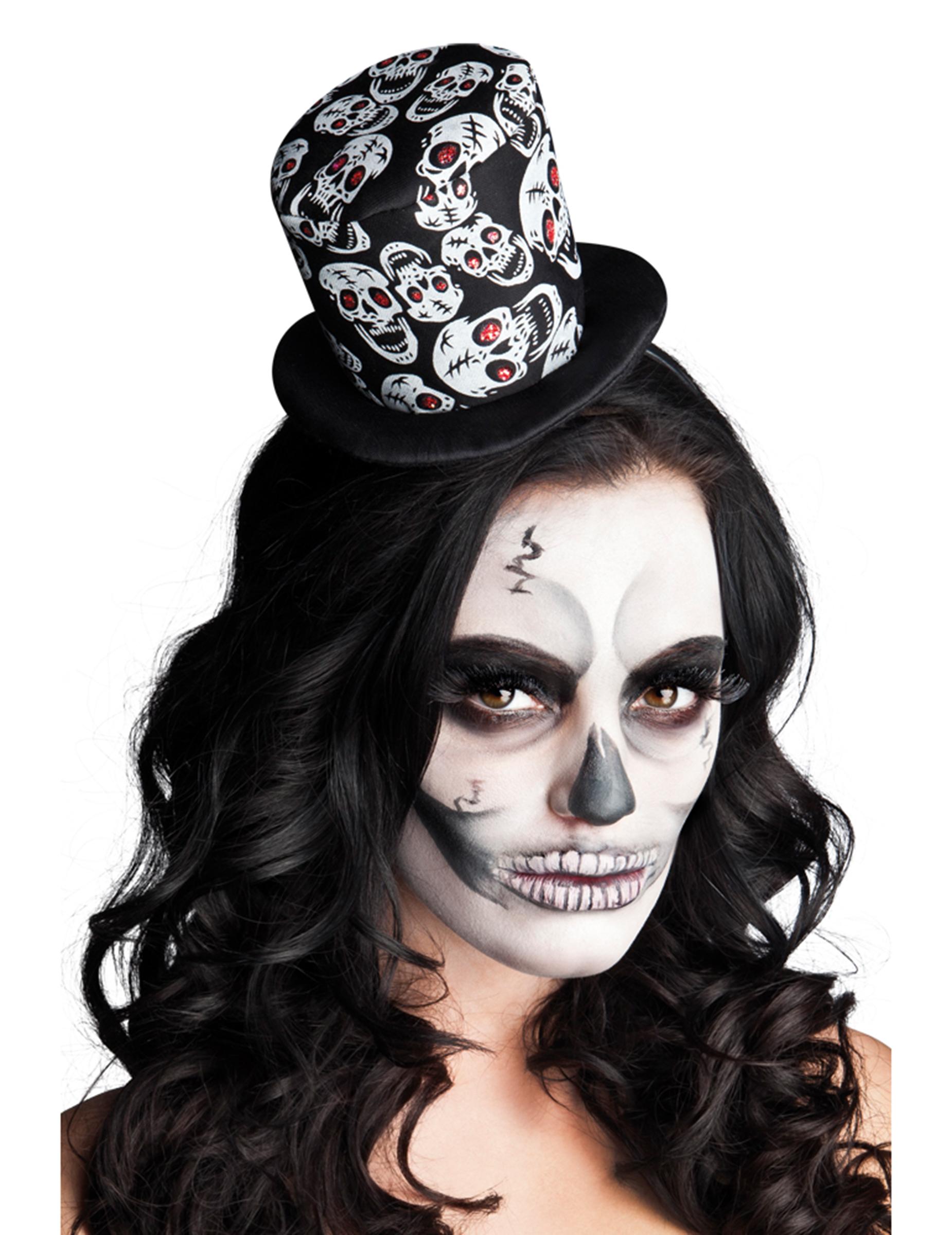 Mini sombrero de copa esqueleto mujer Halloween  Sombreros 3277d1af09f