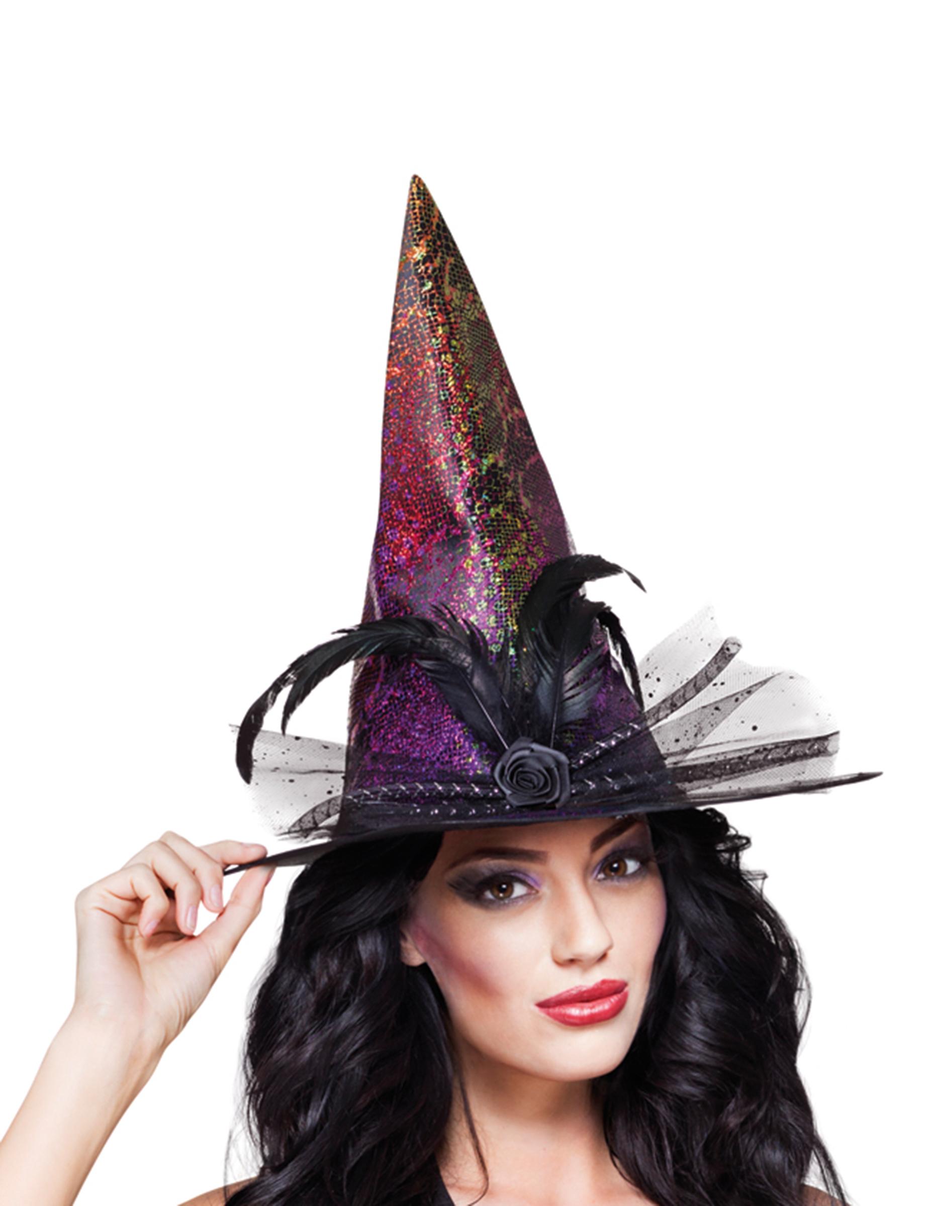 Sombrero de bruja de colores mujer Halloween: Sombreros,y disfraces ...