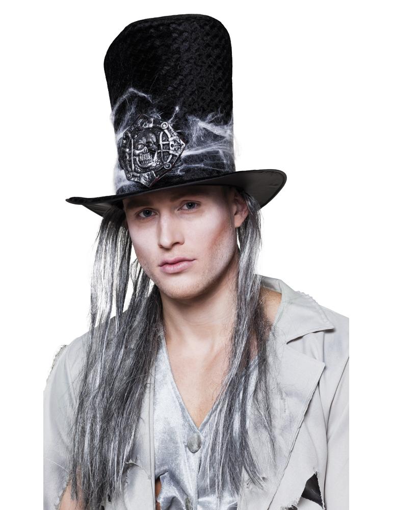 Sombrero de copa esqueleto con pelo adulto Halloween  Sombreros 978c269ba99