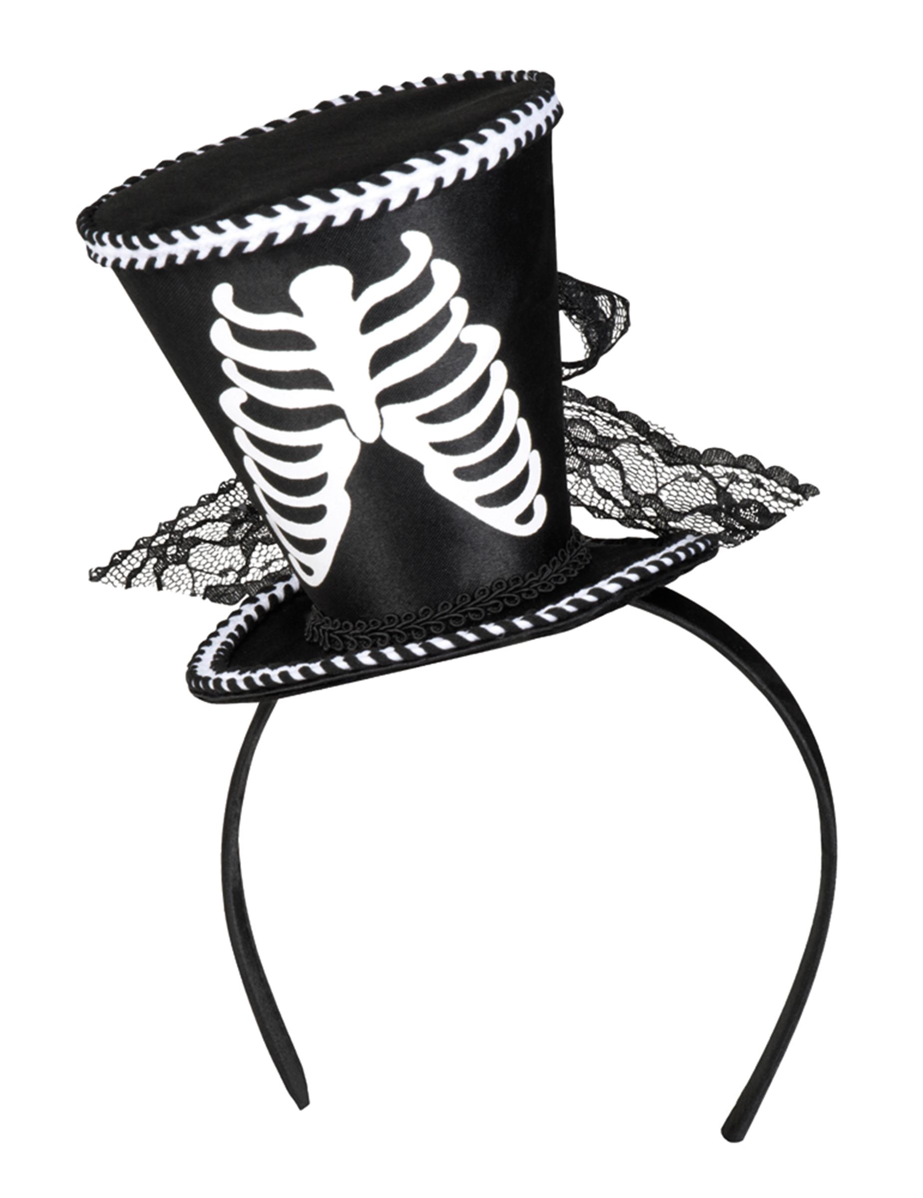 Mini sombrero de copa esqueleto para mujer Halloween  Sombreros a7a581a6fdd
