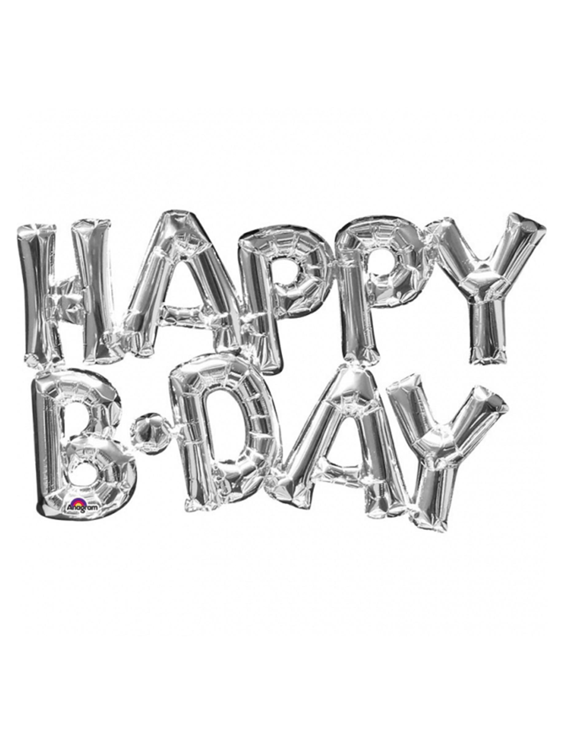 Globo aluminio Happy Birthday plateado 78 cm