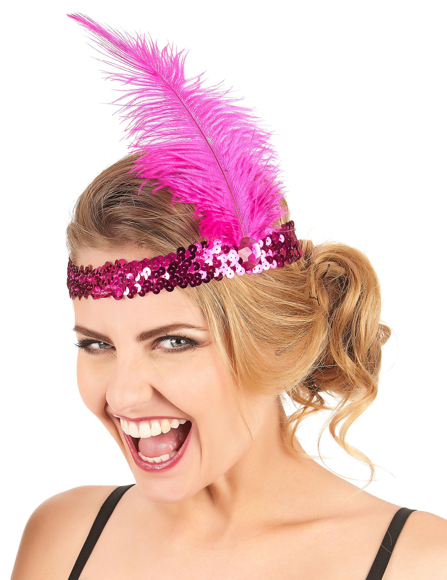 8921f2ff Diadema Charlestón lentejuelas y pluma rosa mujer