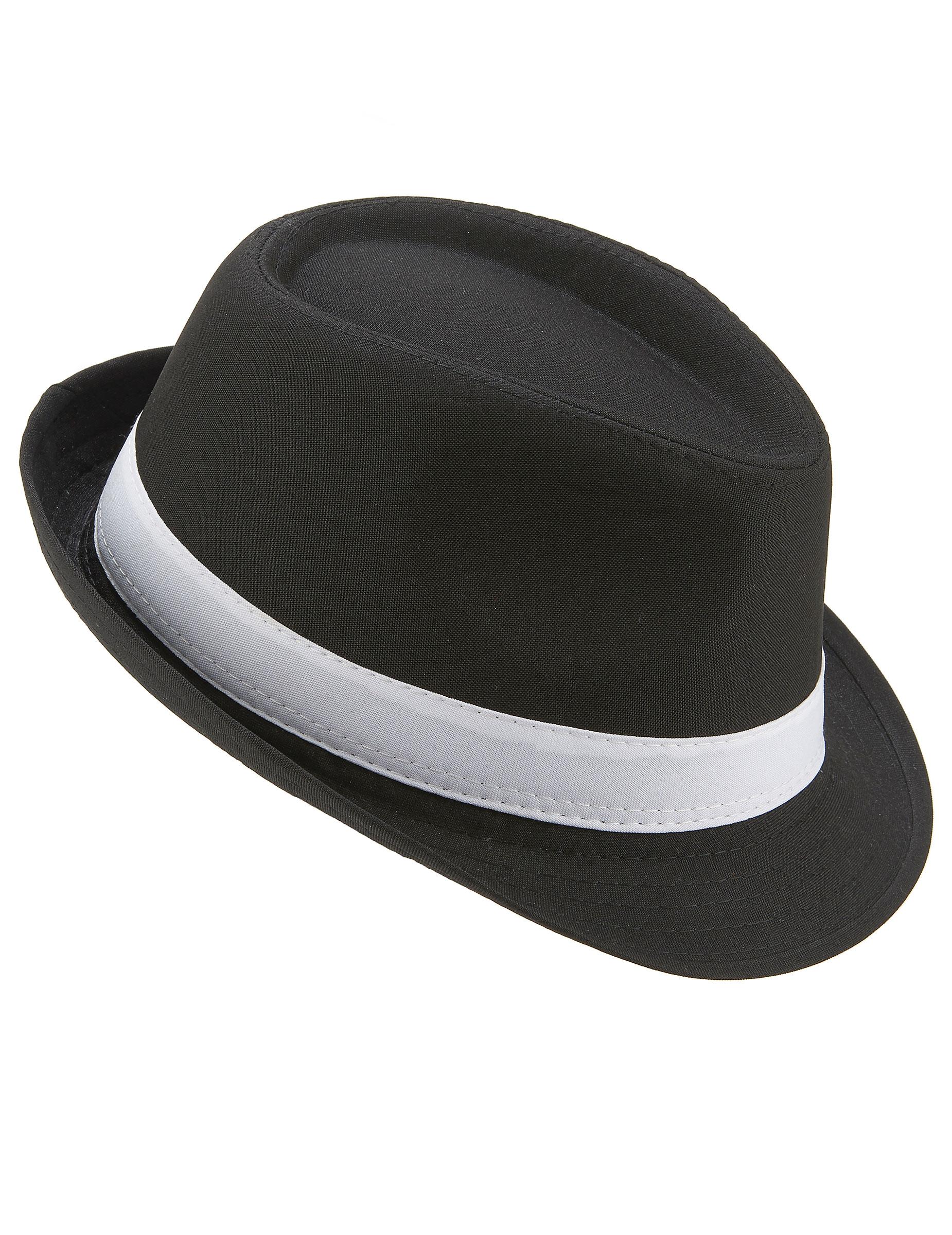 Sombrero borsalino negro banda blanca adulto  Sombreros cad50031e29