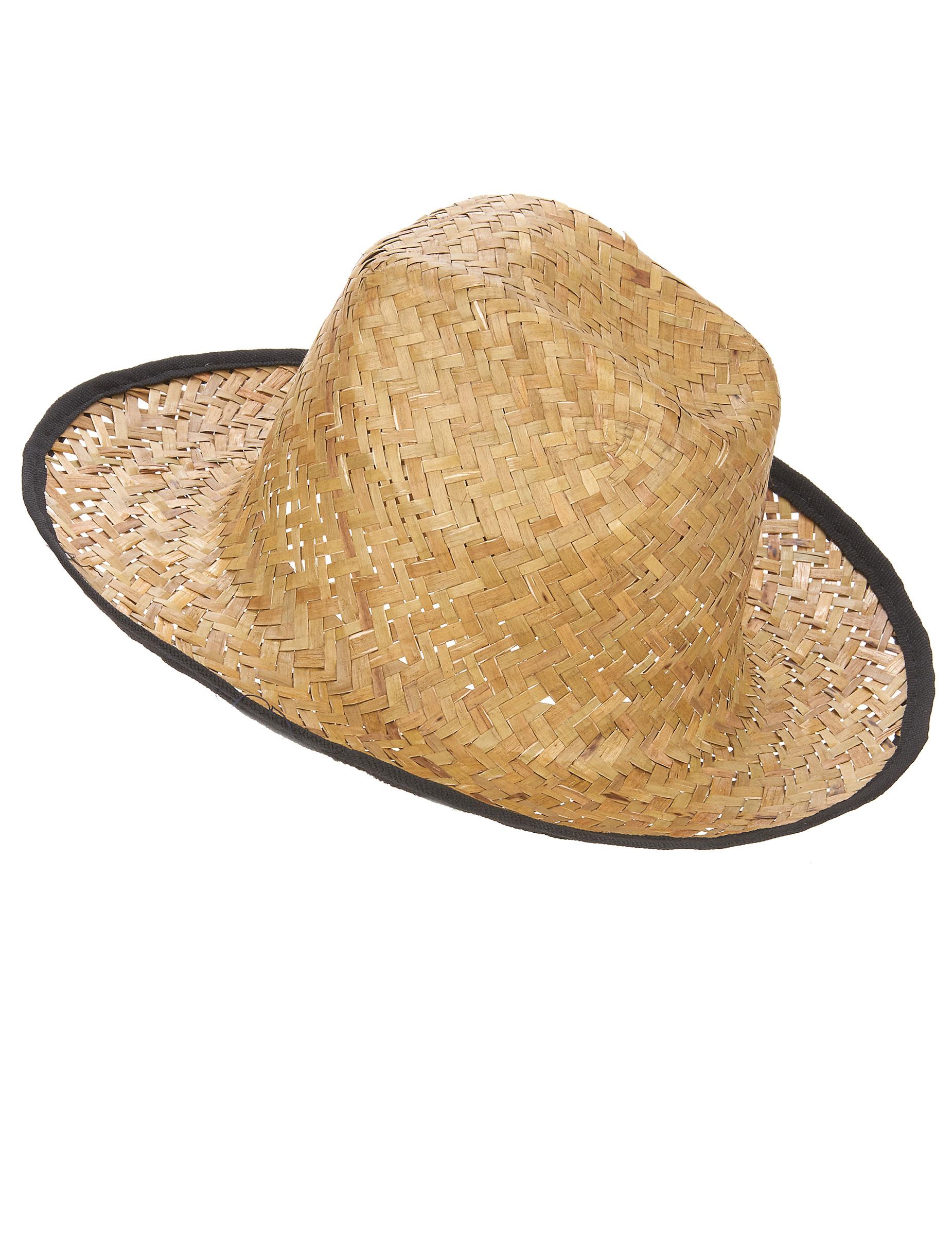 b174a0e430e9e Sombrero de paja con contorno negro adulto  Sombreros