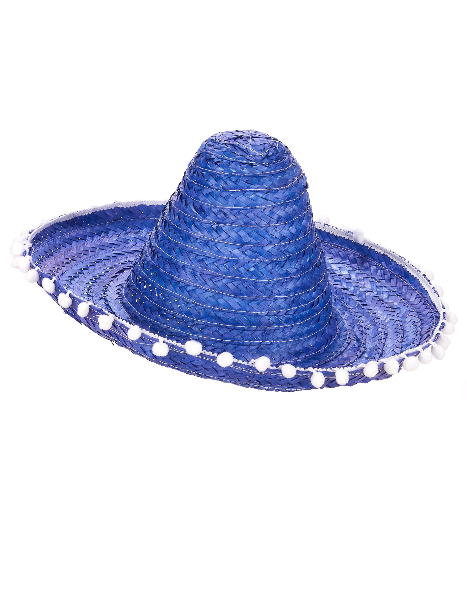 f1b8affd80889 Sombrero azul mexicano pompones adulto  Sombreros