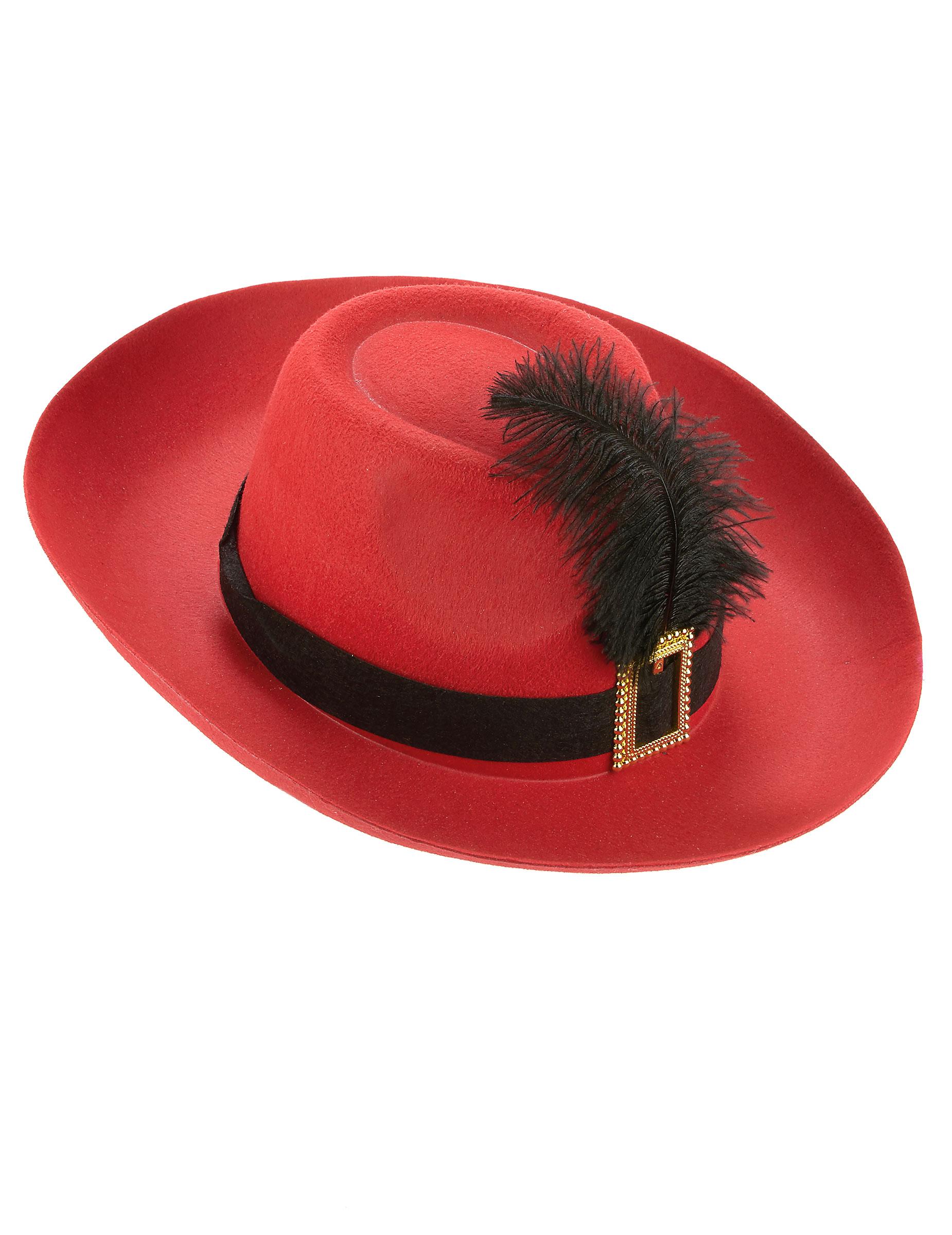 Sombrero mosquetero banda roja y pluma negra adulto  Sombreros 0df8cf14710