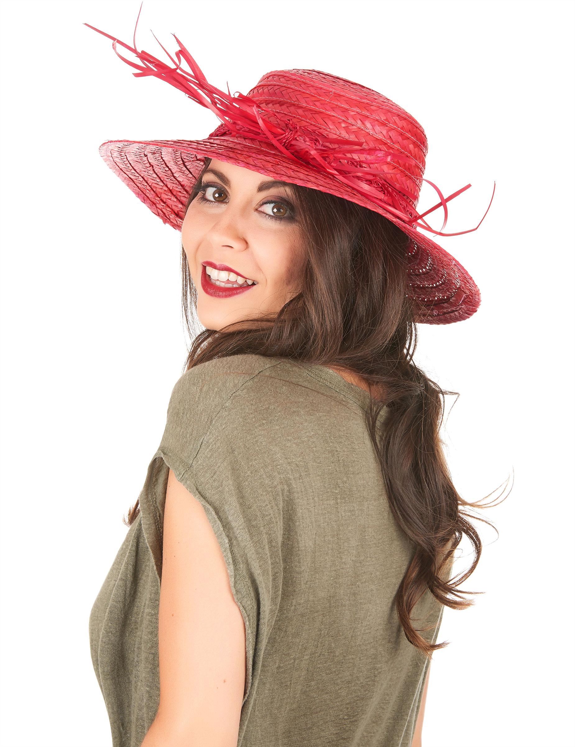 Sombrero de paja vintage rojo mujer  Sombreros 50fd78a0359