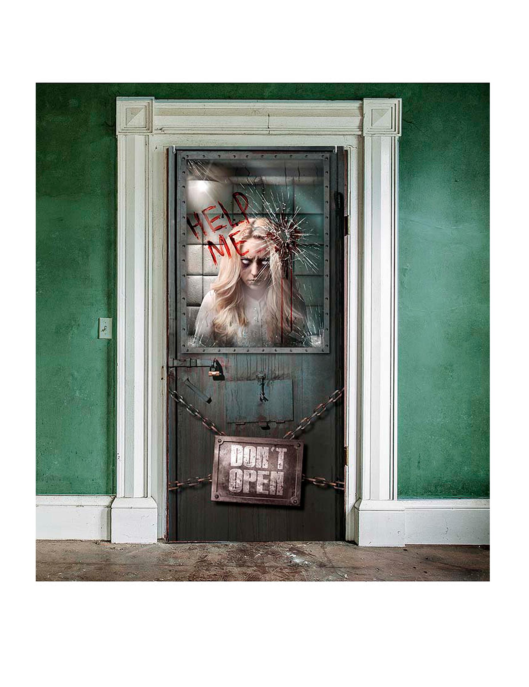 Decoraci n puerta manicomio sangriento halloween for Decoracion para puertas halloween