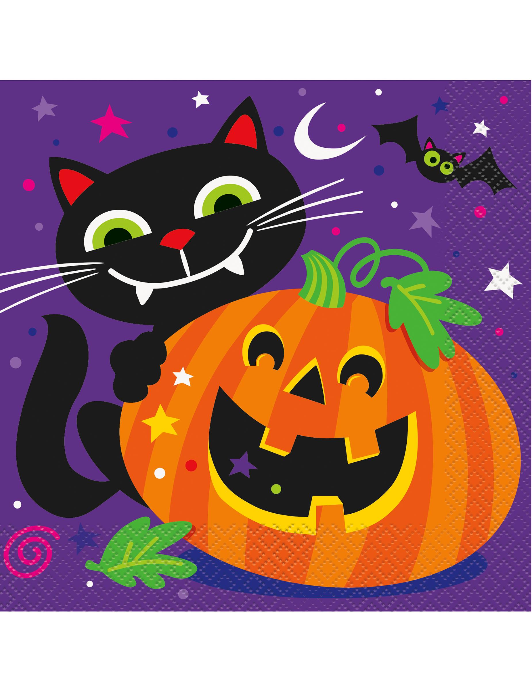 16 Servilletas De Papel Calabaza Y Compania Halloween Decoraciony - Calabaza-de-papel
