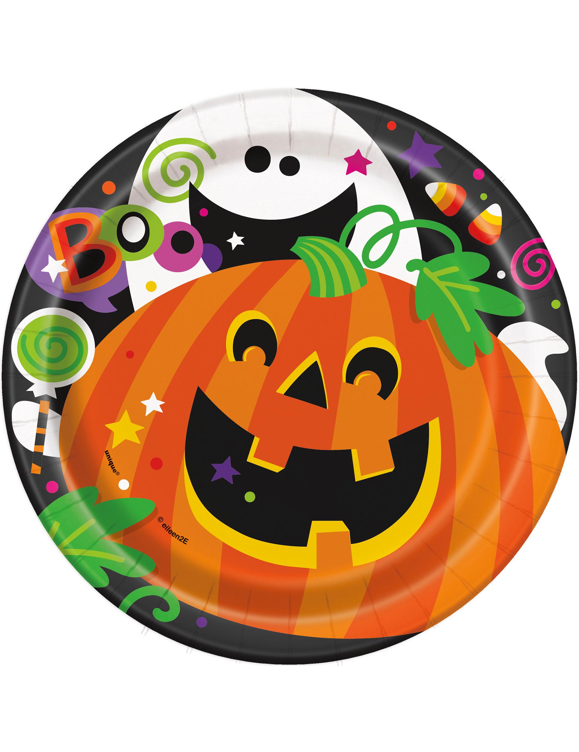 8 platos de cart n calabaza halloween 18 cm decoraci n y - Calabazas halloween originales para ninos ...