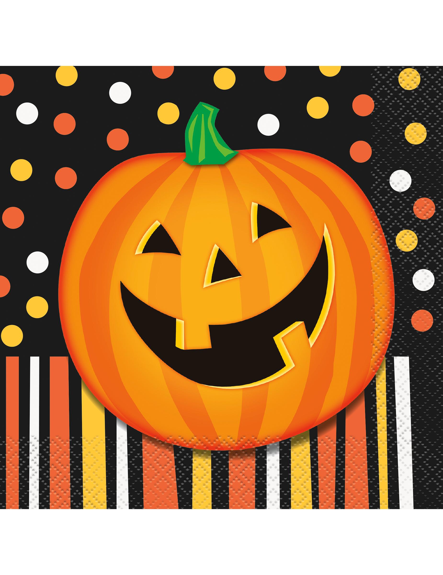 16 Servilletas De Papel Calabaza Halloween 33 Cm Decoraciony - Calabaza-de-papel