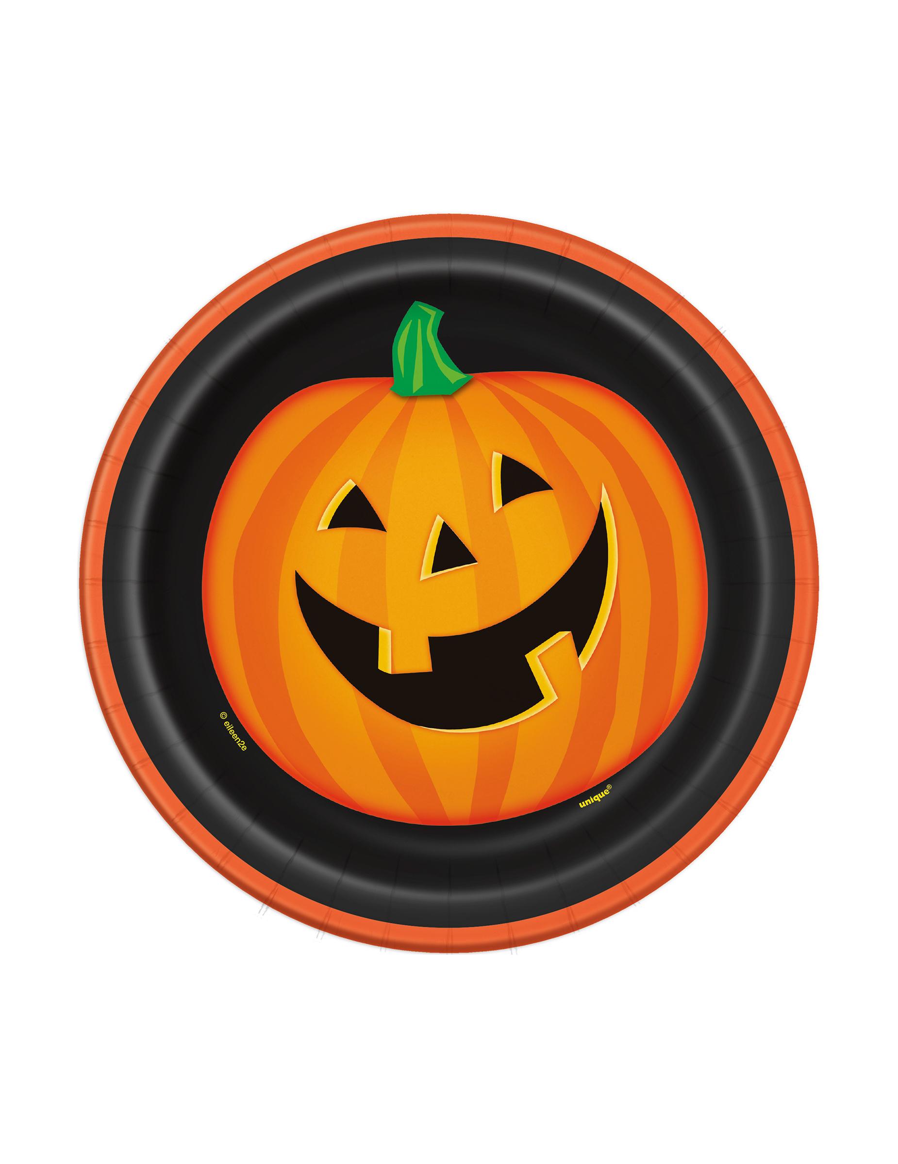 8 Platos Pequenos Carton Calabaza Sonriente Halloween 18 Cm - Calabaza-hallowen