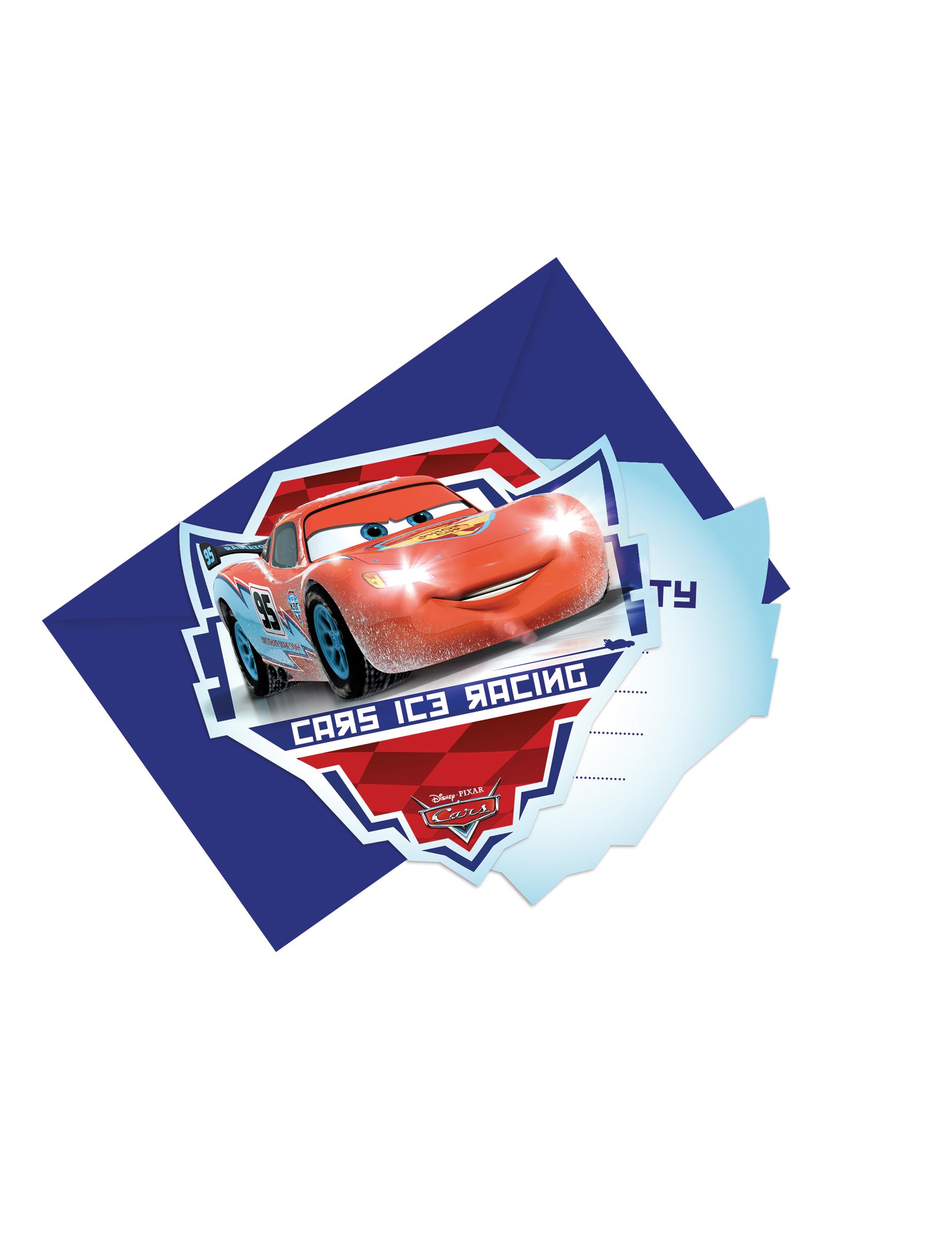 6 Tarjetas De Invitación Con Sobres Cars Hielo Ice Racers