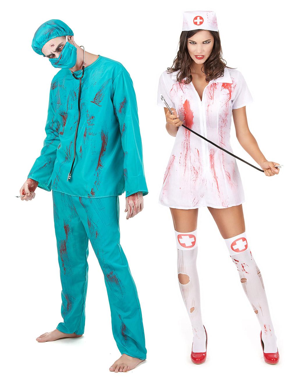 disfraz de pareja zombie cirujano y enfermera halloween disfraces parejas y disfraces. Black Bedroom Furniture Sets. Home Design Ideas