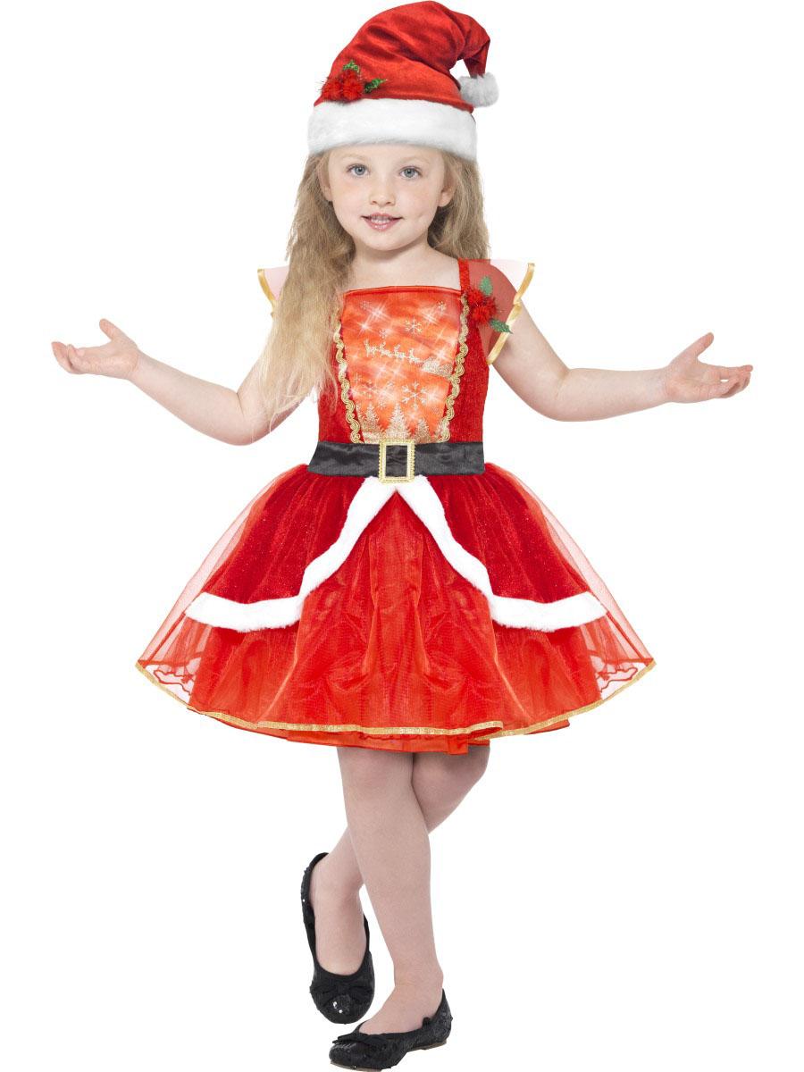 Disfraz De Mama Noel Rojo Luminoso Con Sombrero Nina Navidad - Disfraces-de-nios-de-navidad