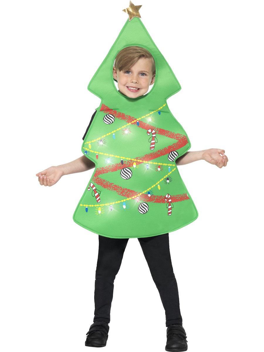 Disfraz de rbol de navidad con luces ni o navidad - Arbol de navidad para ninos ...