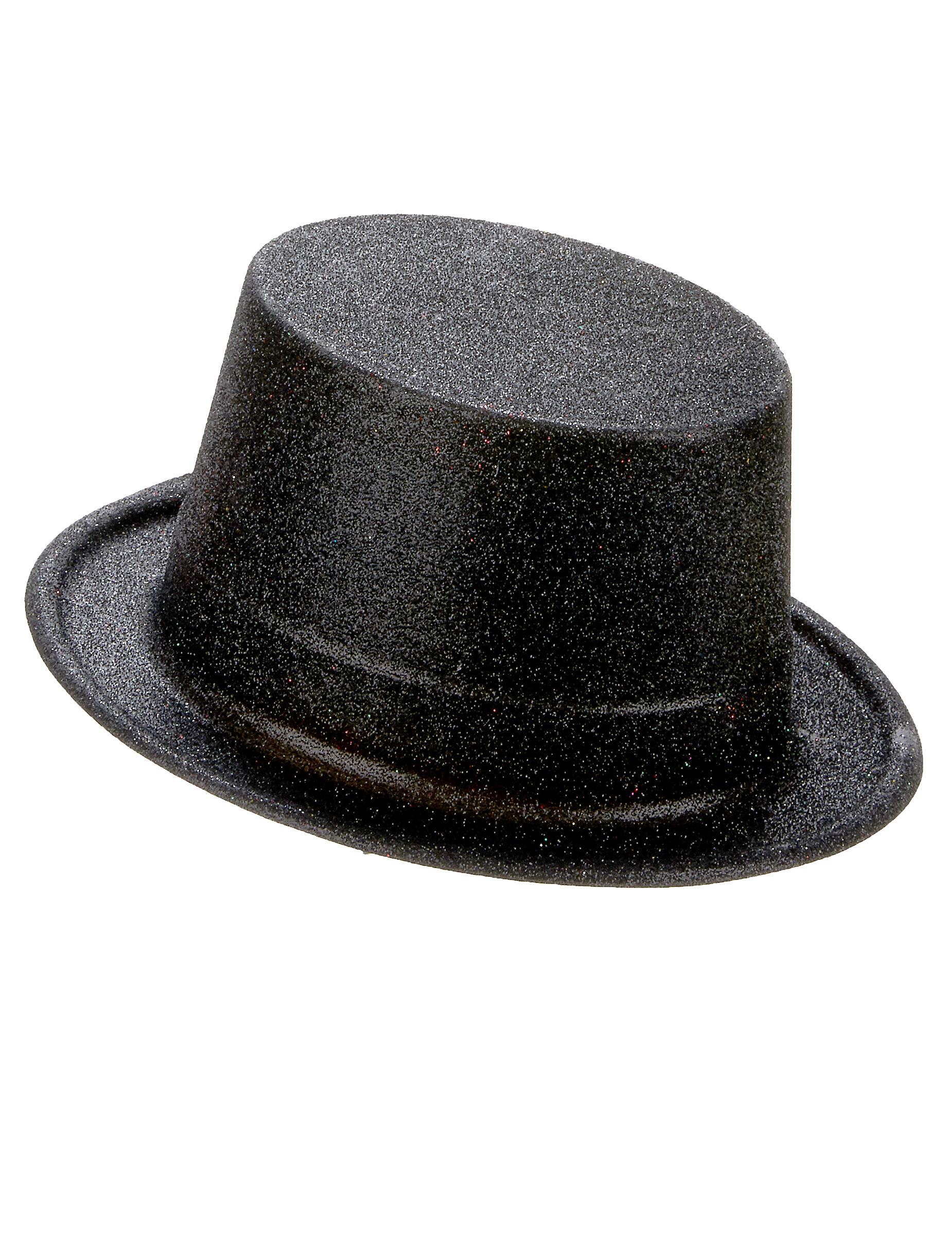 Sombrero de copa de plástico con brillantina negro adulto  Sombreros ... d2a6a2a7502