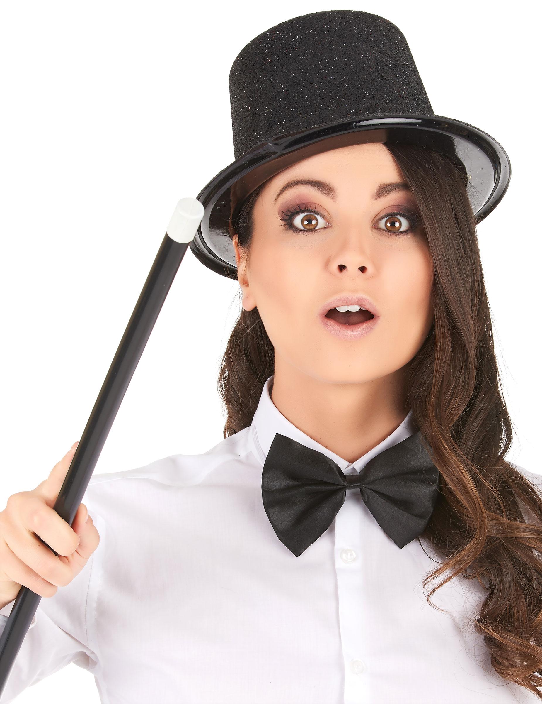 Sombrero de copa de plástico con brillantina negro adulto  Sombreros ... 6683f107ce7