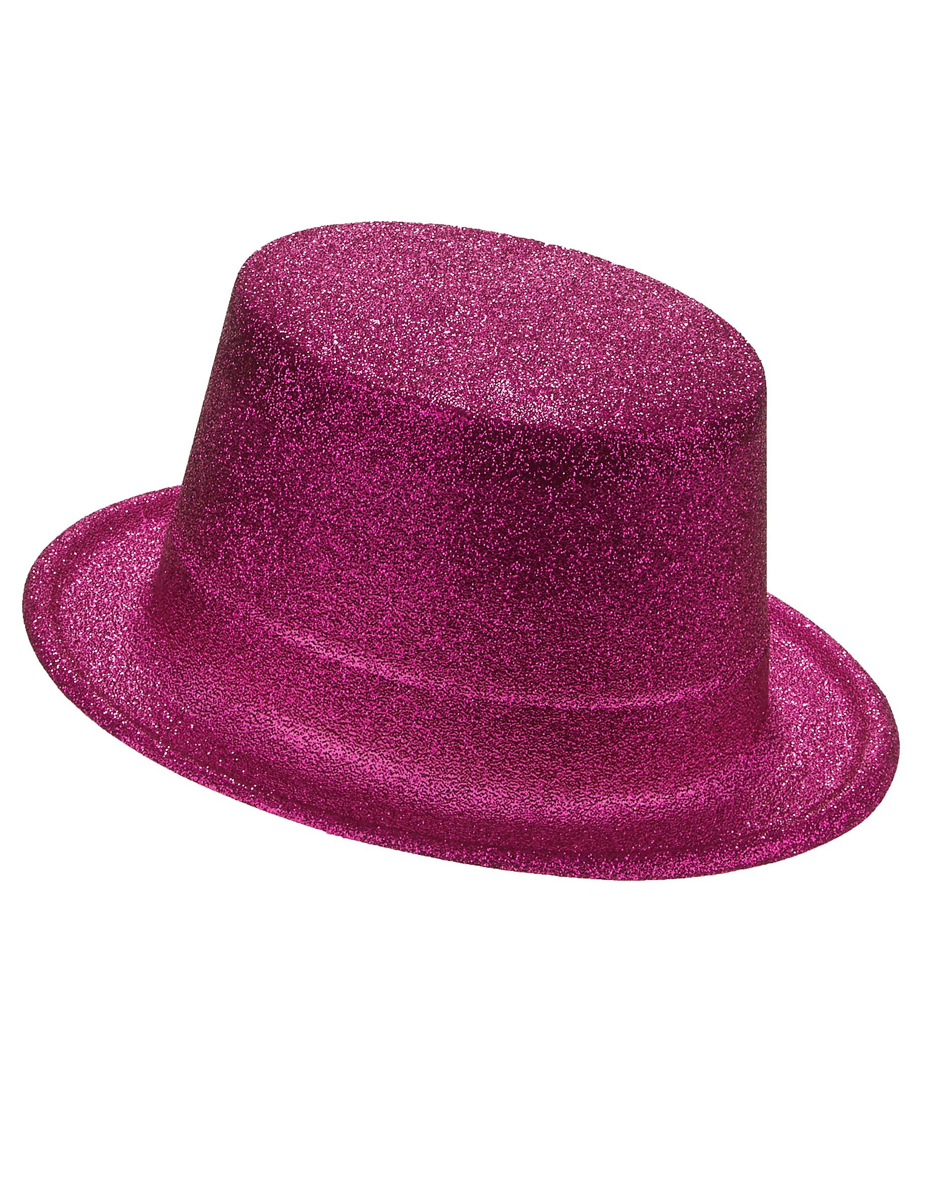Sombrero de copa de plástico con brillantina rosa adulto e14a14c49b4