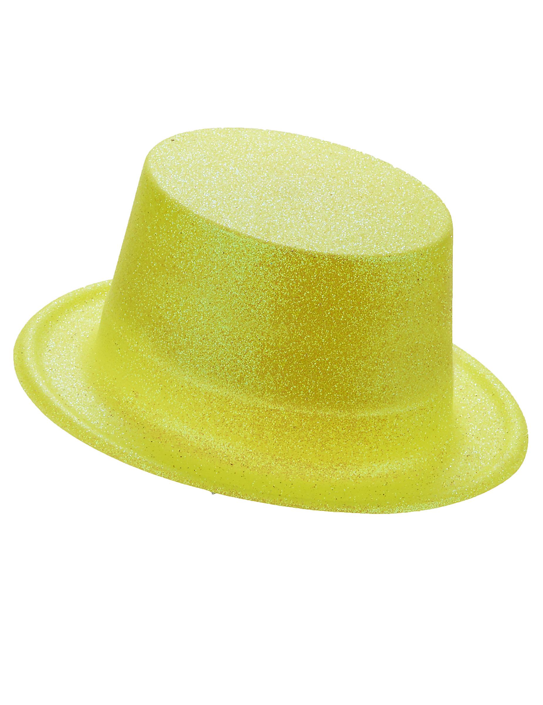Sombrero de copa de plástico con brillantina amarilllo adulto ... 0d8b4eda8db