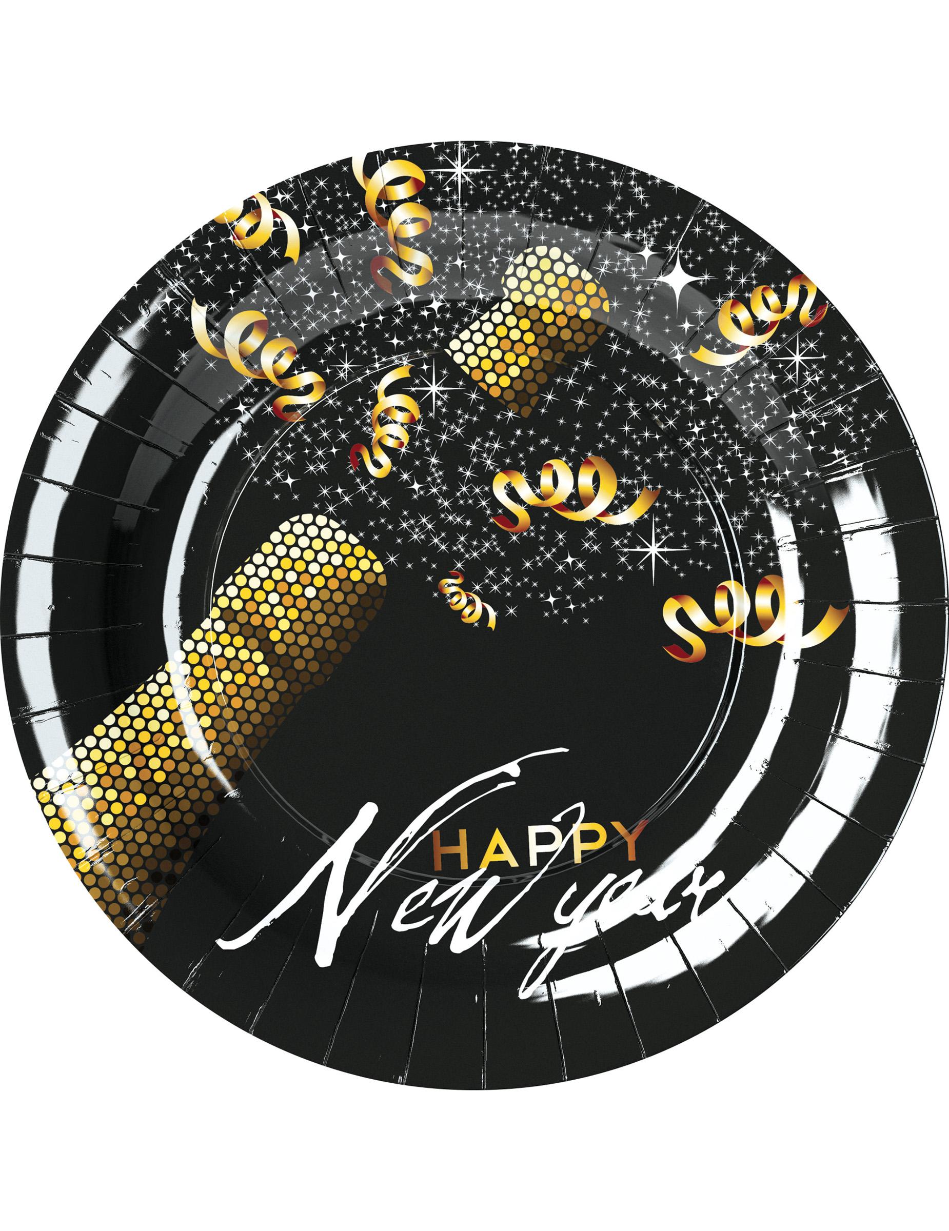 597c53cec 8 Platos Feliz Año Nuevo negro y dorado 23 cm  Decoración