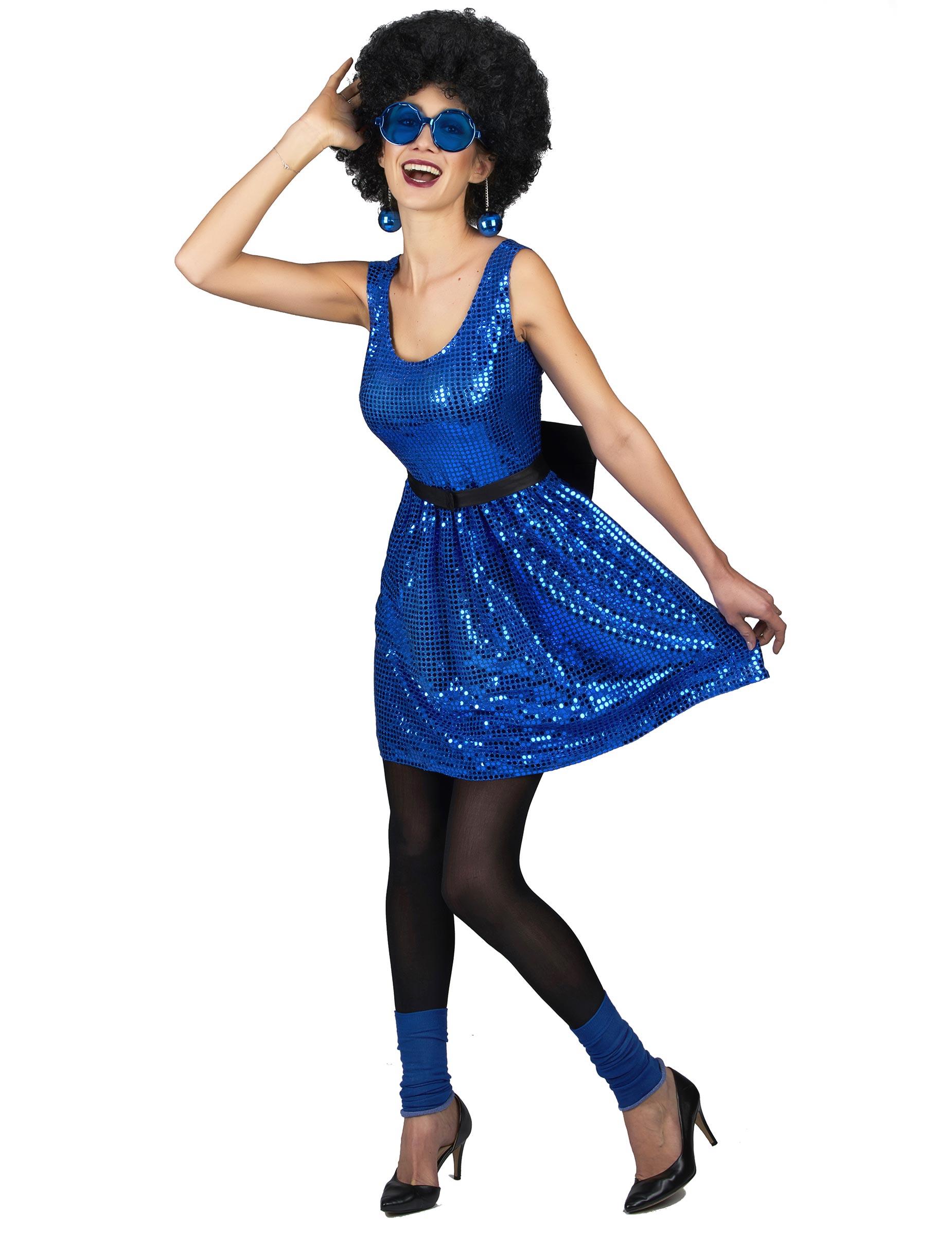 disfraz vestido disco azul lentejuelas y lazo mujer disfraces adultos y disfraces originales. Black Bedroom Furniture Sets. Home Design Ideas