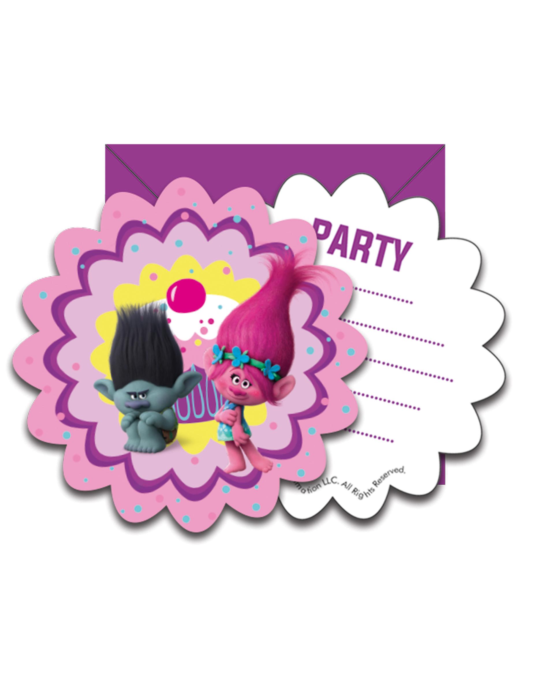 6 Tarjetas de invitación con sobres Trolls™: Decoración,y disfraces ...